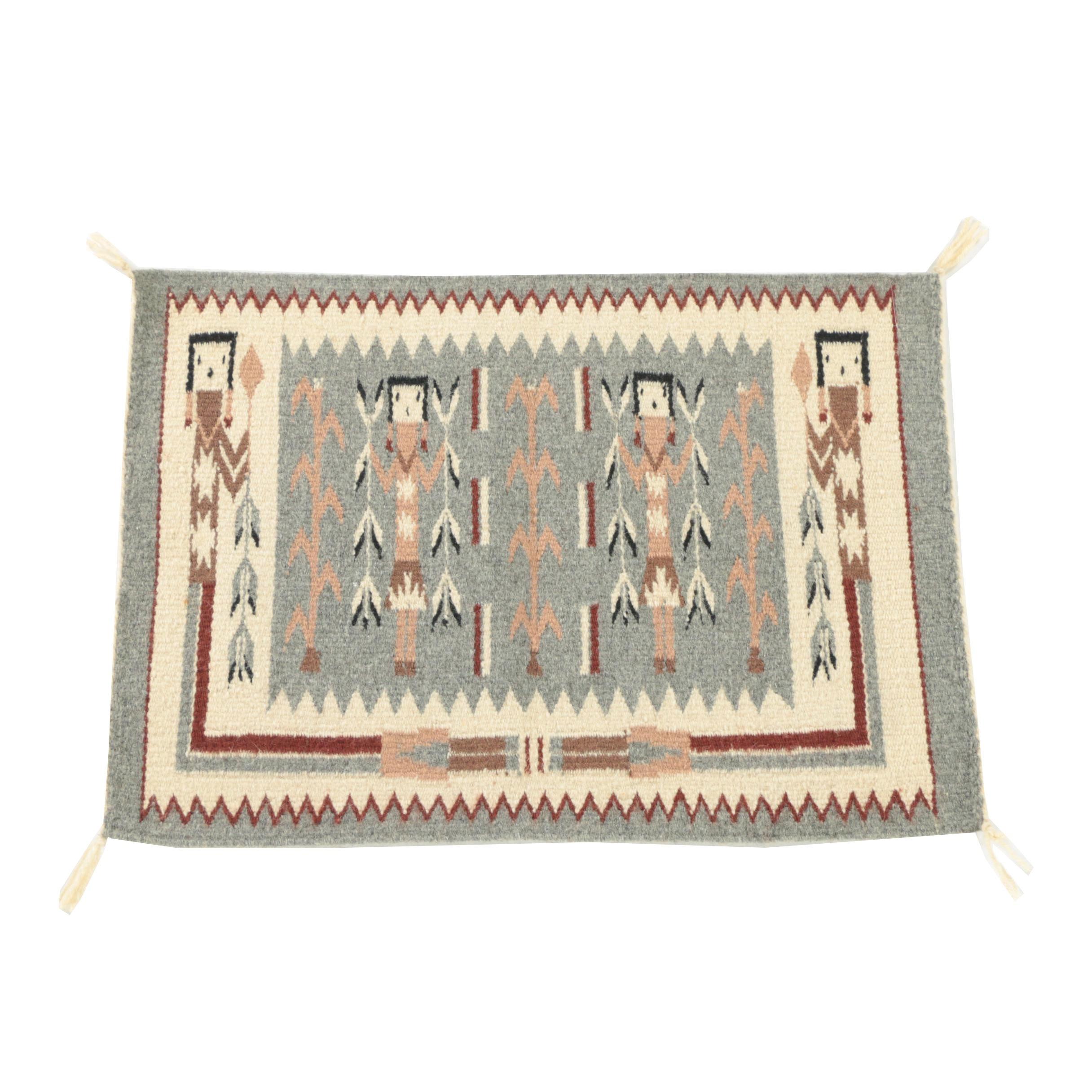 "Handwoven Native American-Style ""Yei"" Wool Mat"