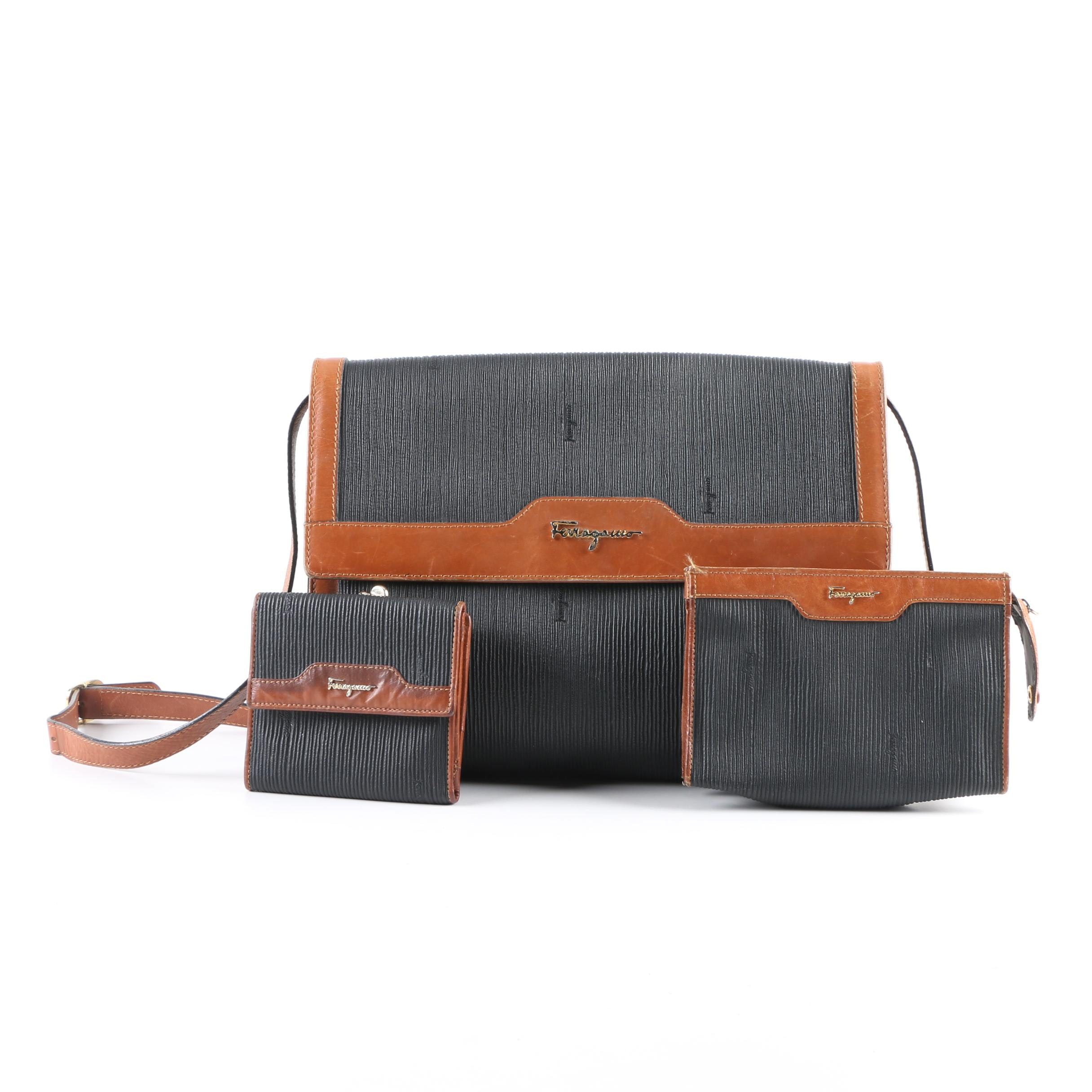 Salvatore Ferragamo Black and Brown Leather Shoulder Bag, Pouch and Wallet