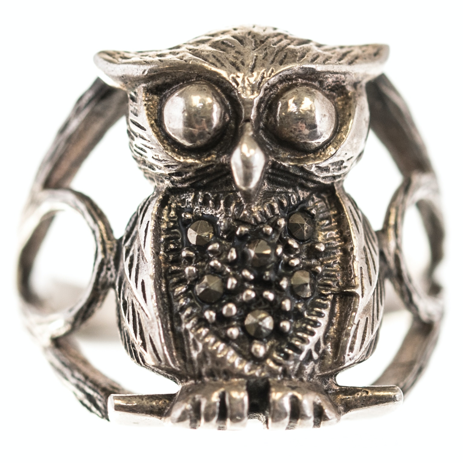 Sterling Silver Marcasite Owl Ring