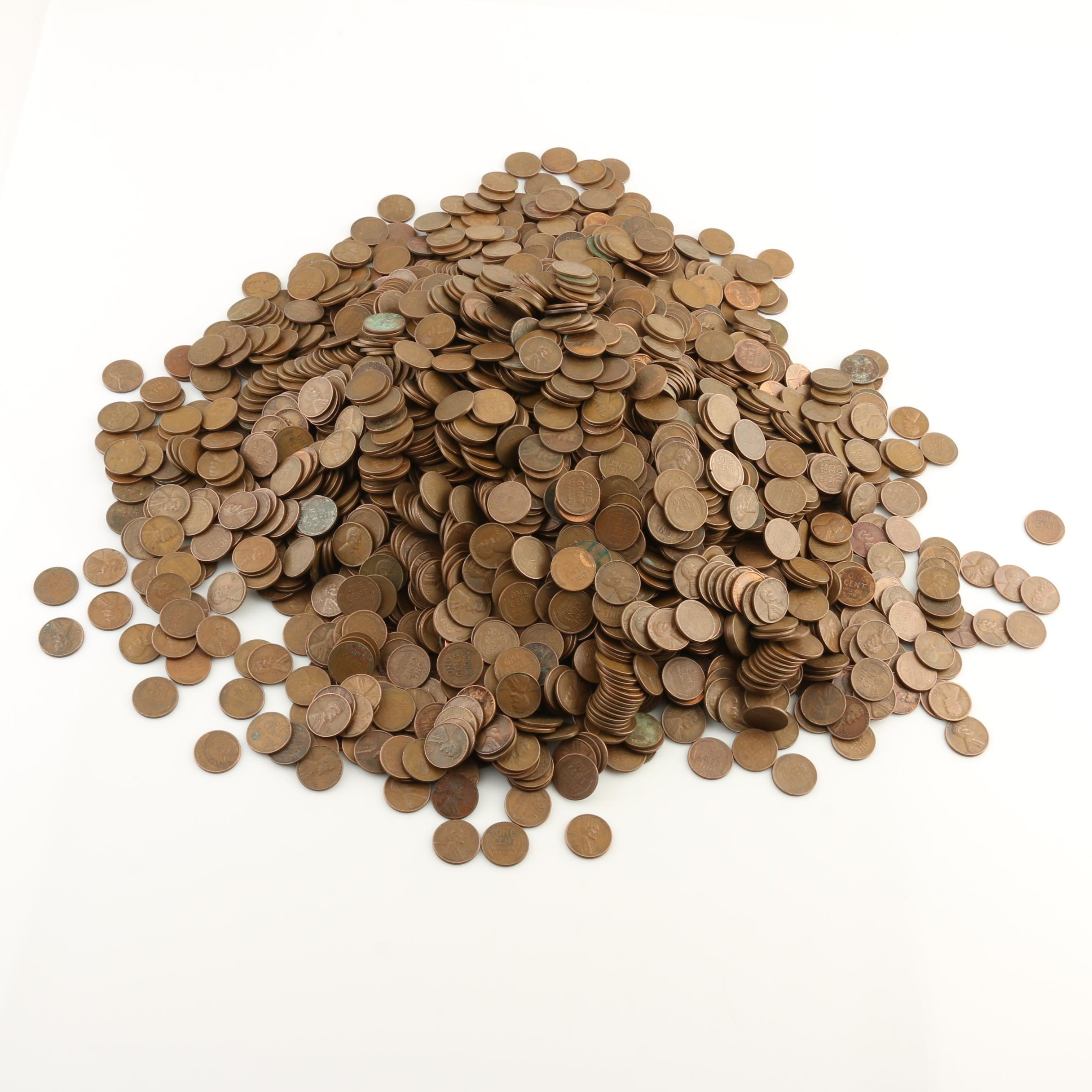 Group of Approximately 2500 Lincoln Wheat Cents