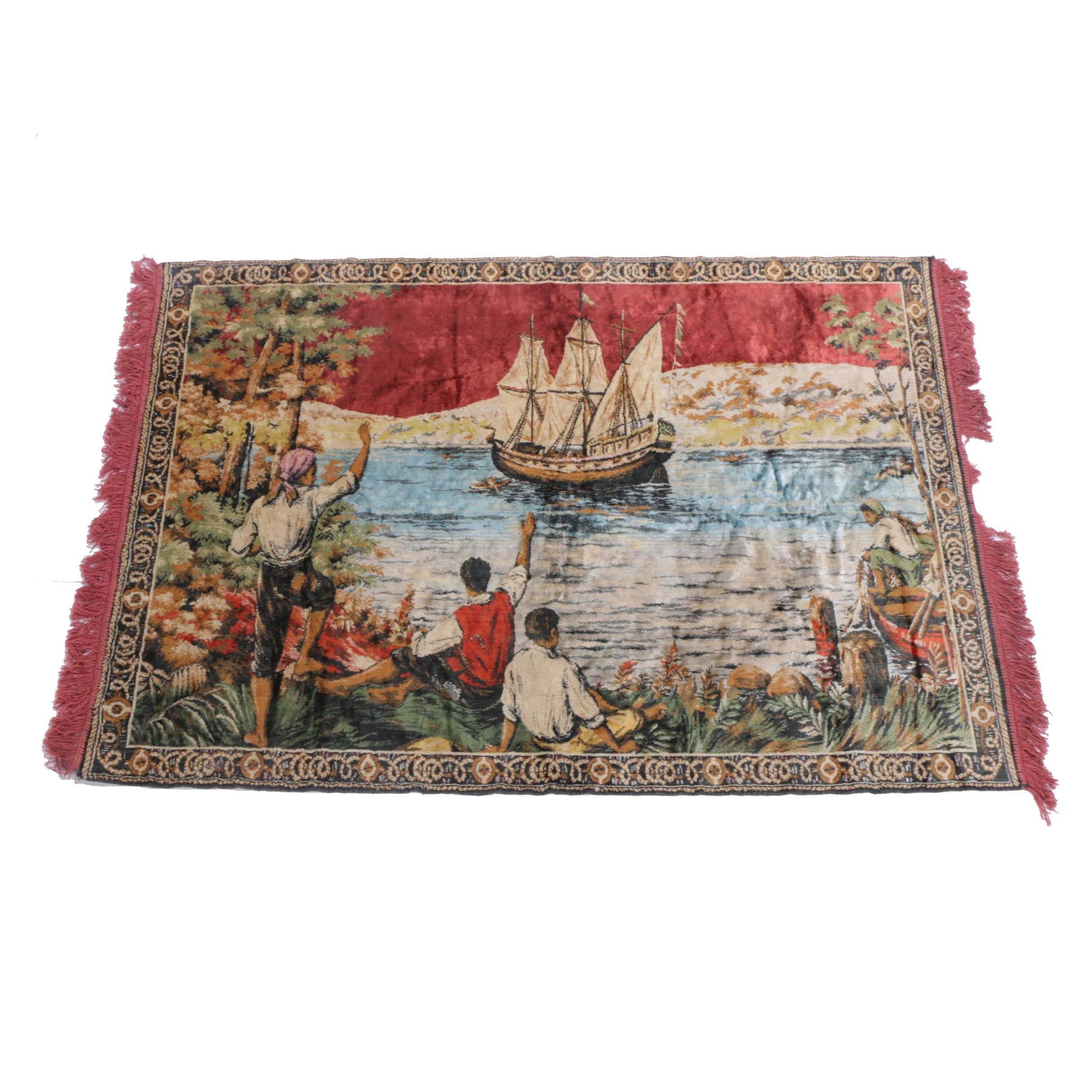 Vintage Pictorial Wool Tapestry of a Coastal Scene