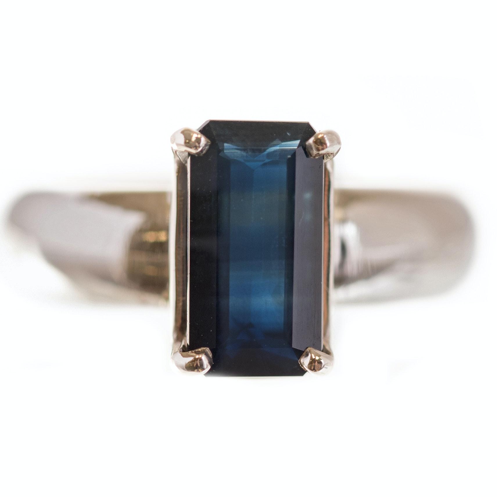 14K White Gold 2.07 CT Sapphire Ring