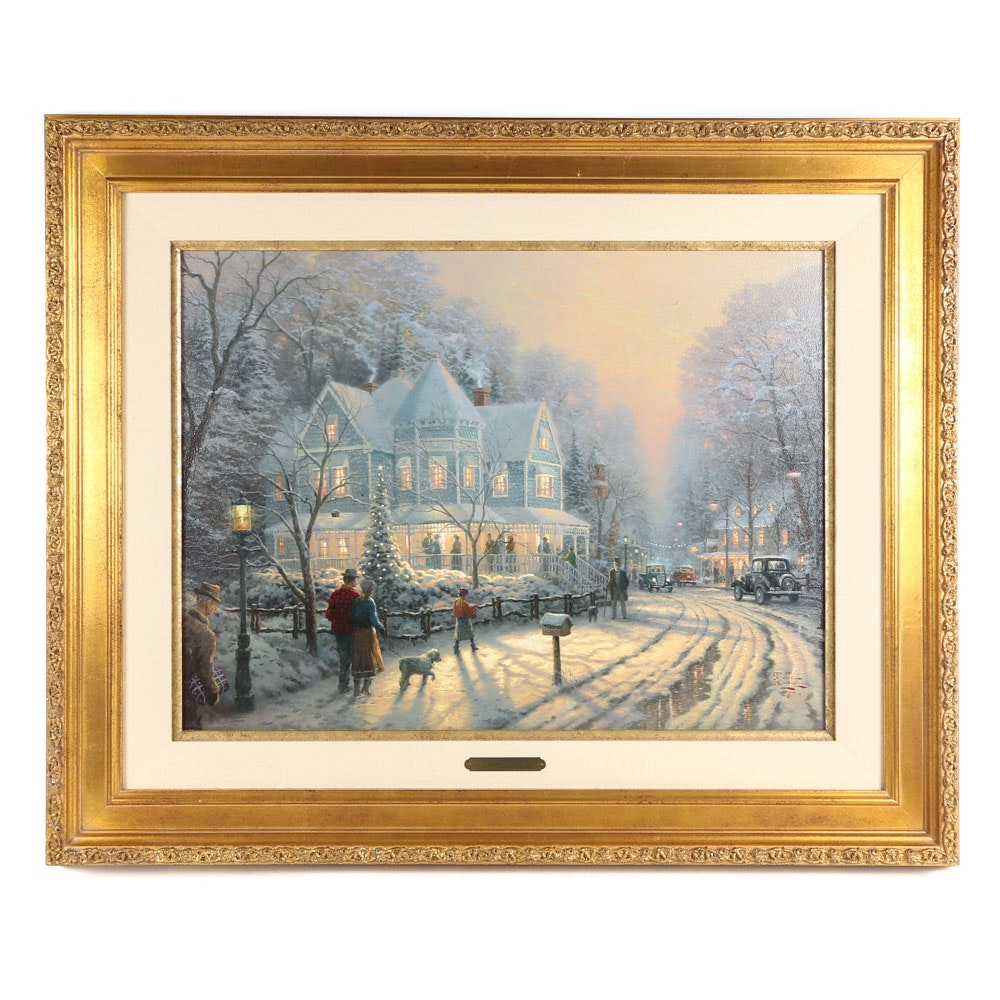 "After Thomas Kinkade Embellished Offset Lithograph ""A Holiday Gathering"""