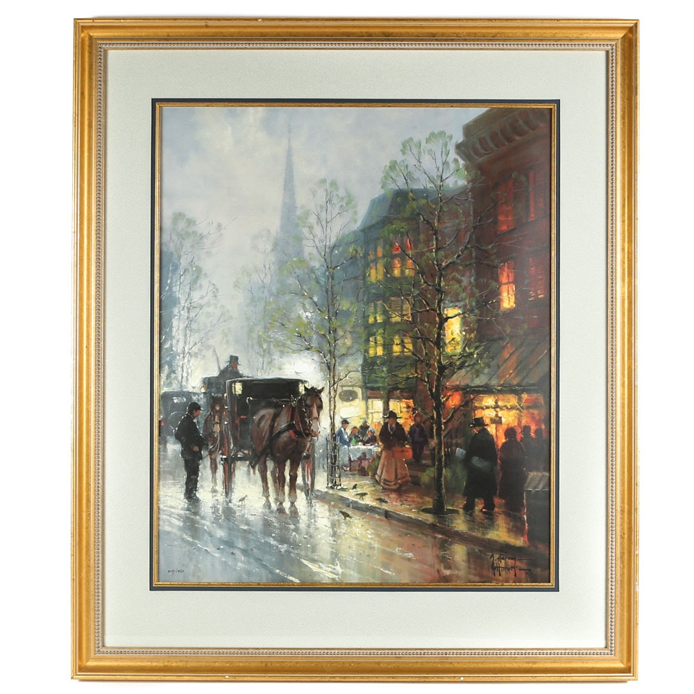 "After G. Harvey Limited Edition Offset Lithograph ""Tea Time on Newberry Street"""