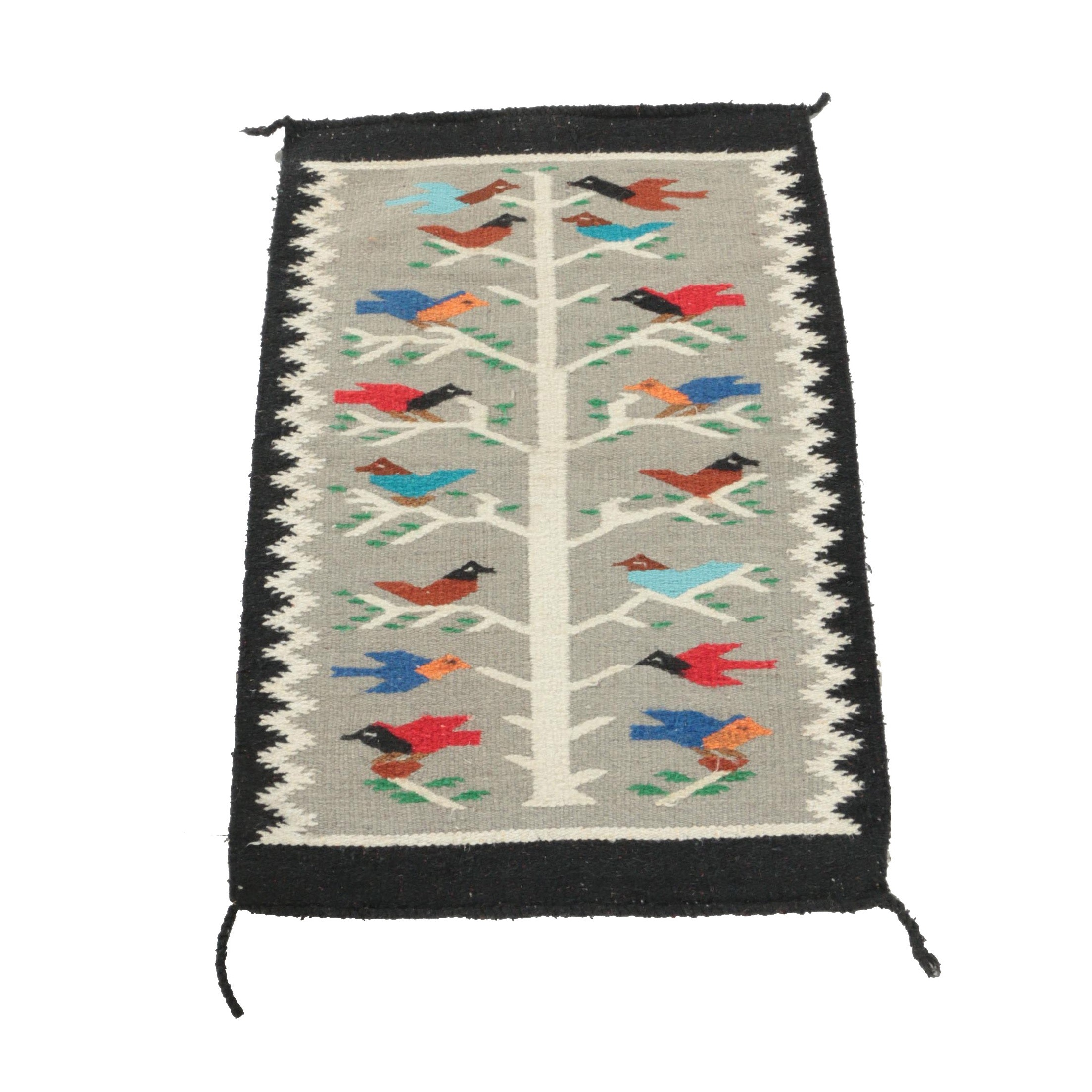 """Handwoven Mexican""""Tree of Life"""" Wool Accent Rug"""