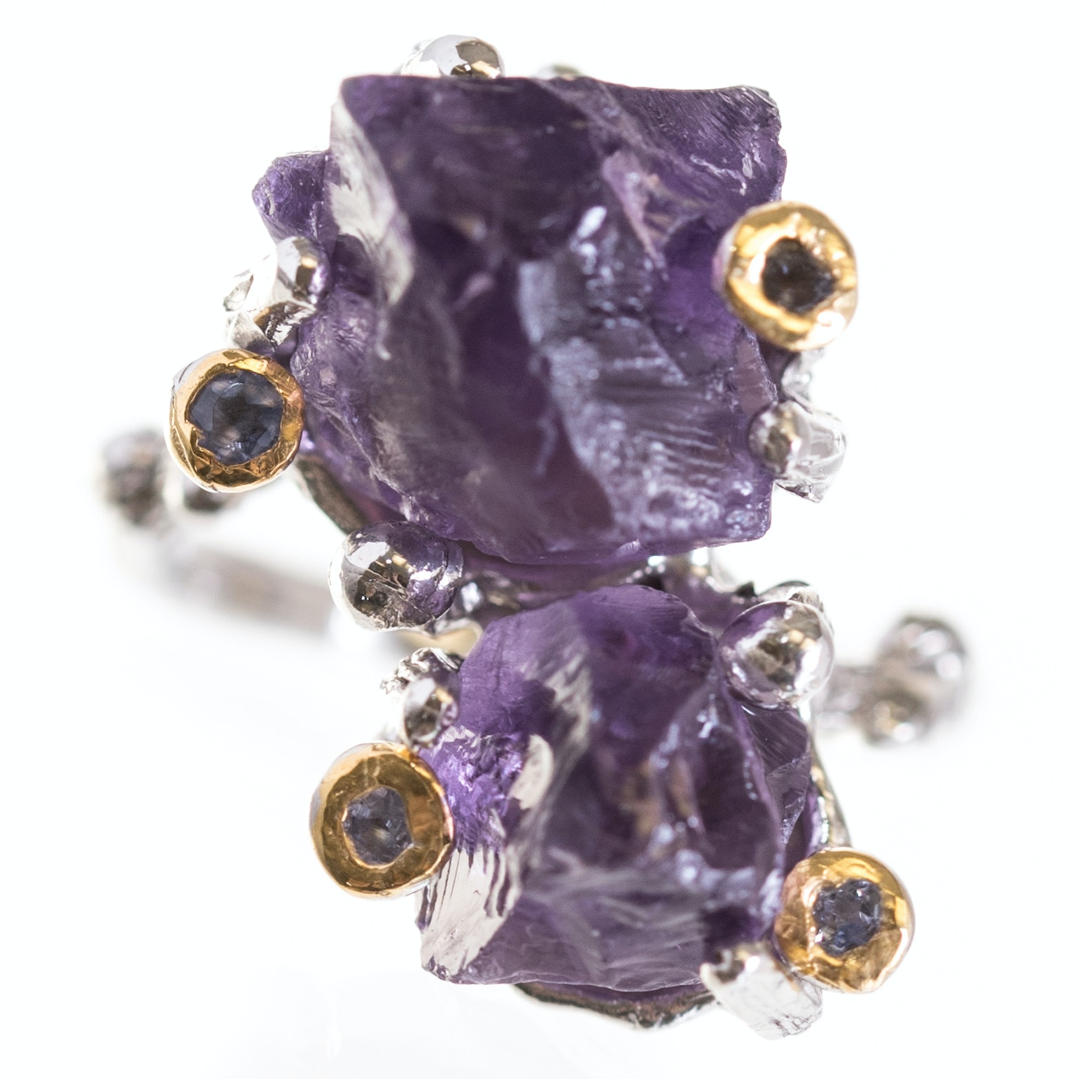Sterling Silver Branch Design Amethyst and Tanzanite Ring