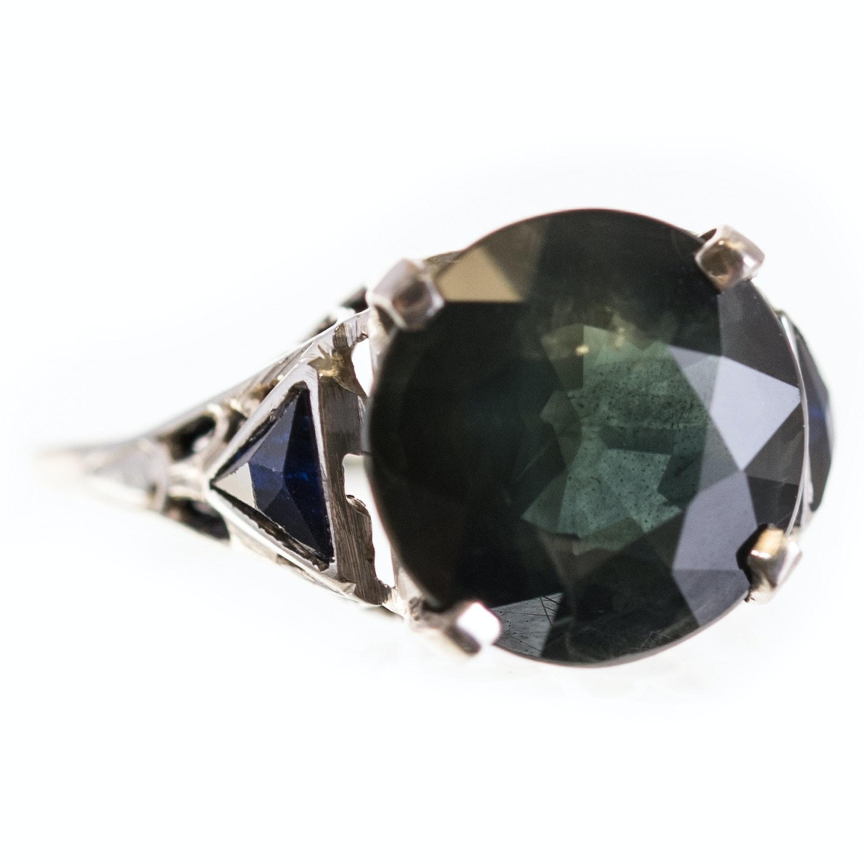 18K White Gold 3.71 CT Sapphire Ring