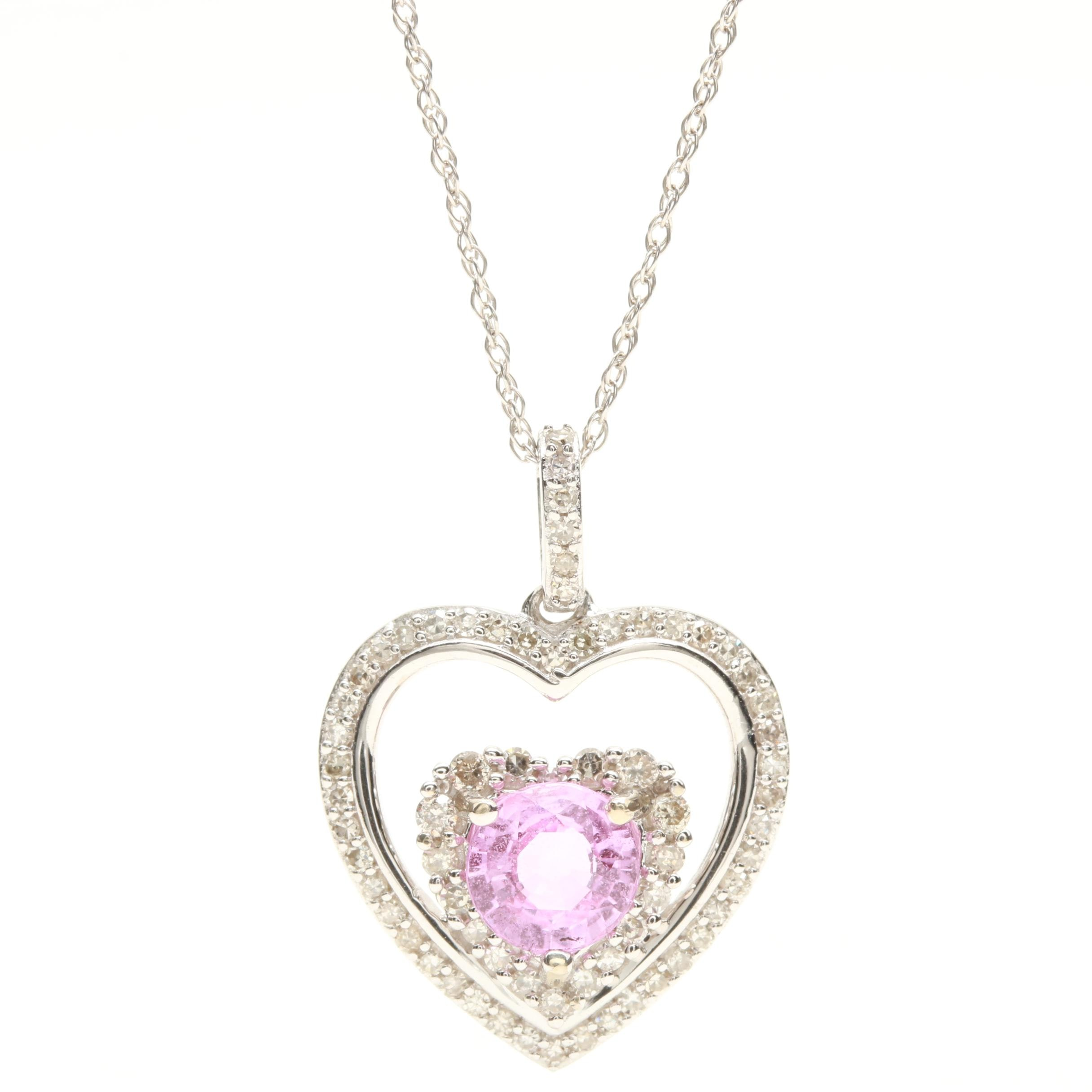 14K White Gold Pink Sapphire and Diamond Heart Pendant Necklace
