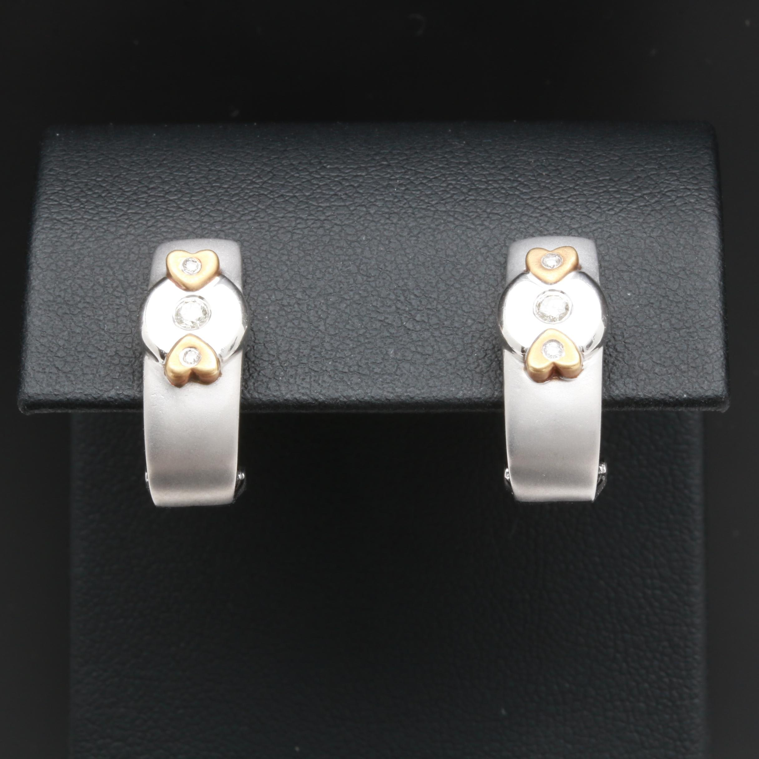 14K White Gold Diamond Earrings with Yellow Gold Accents