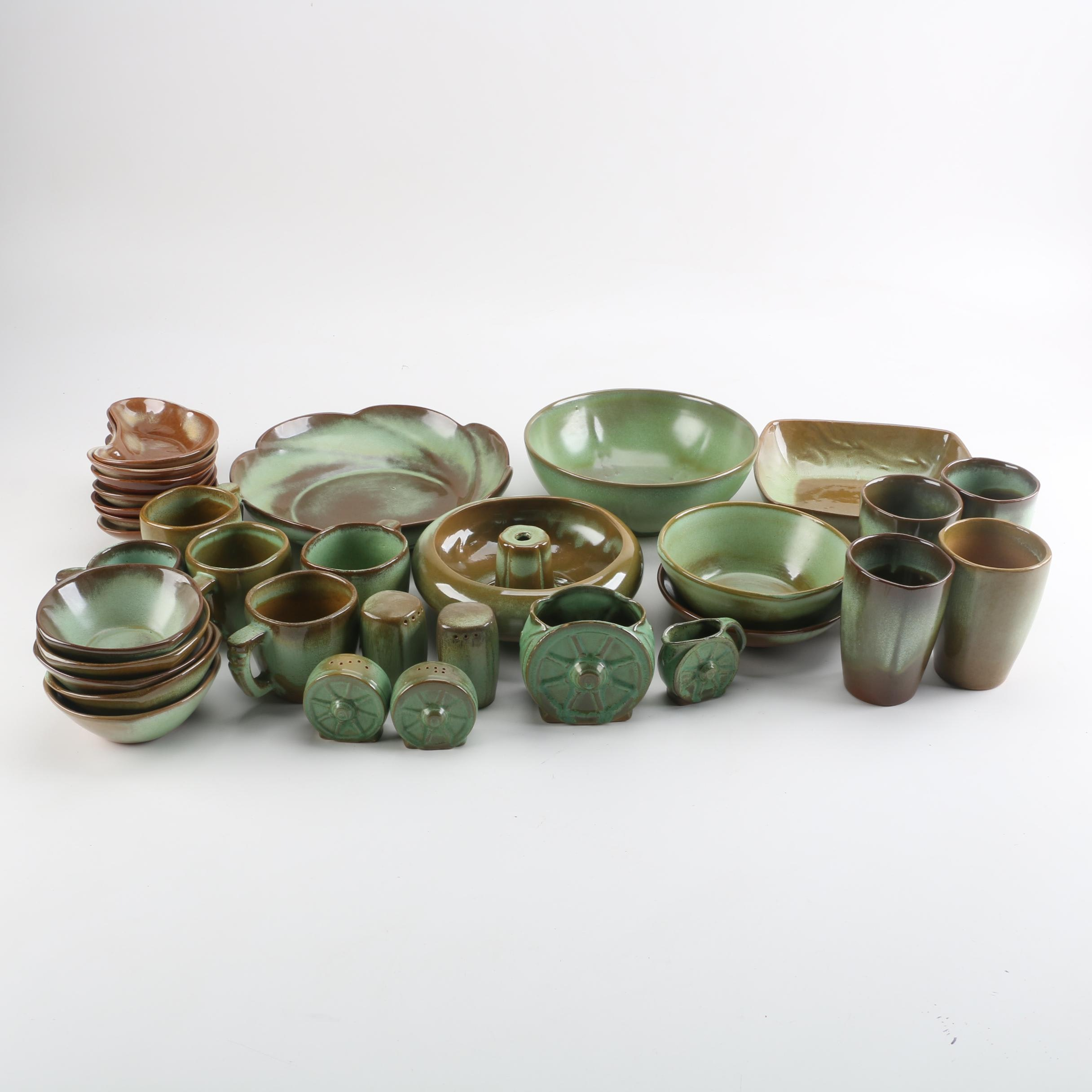 "Vintage Frankoma Pottery ""Prairie Green"" Serveware and Dinnerware"