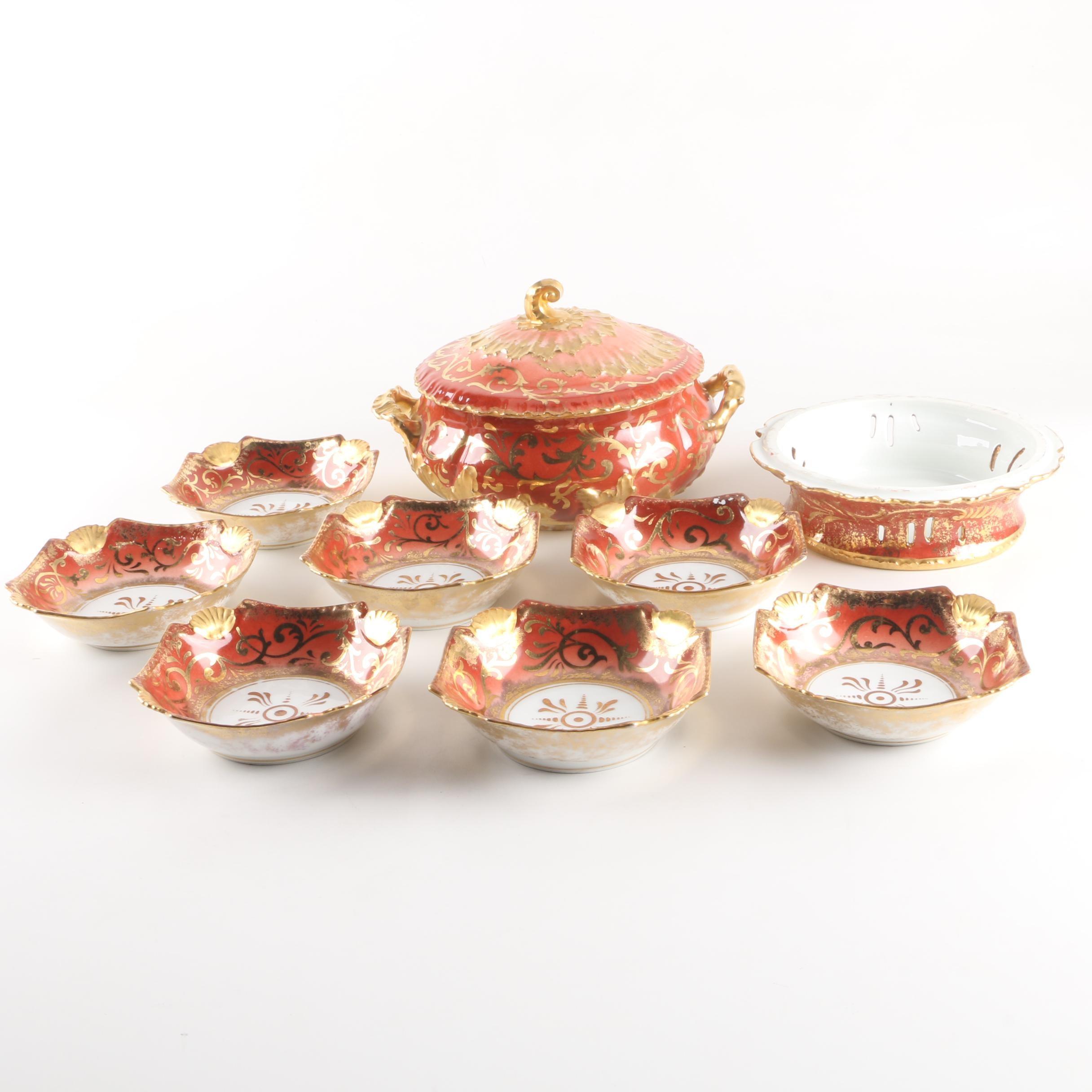 Martial Redon and Tressemann & Vogt Limoges Porcelain Bowls and Covered Server