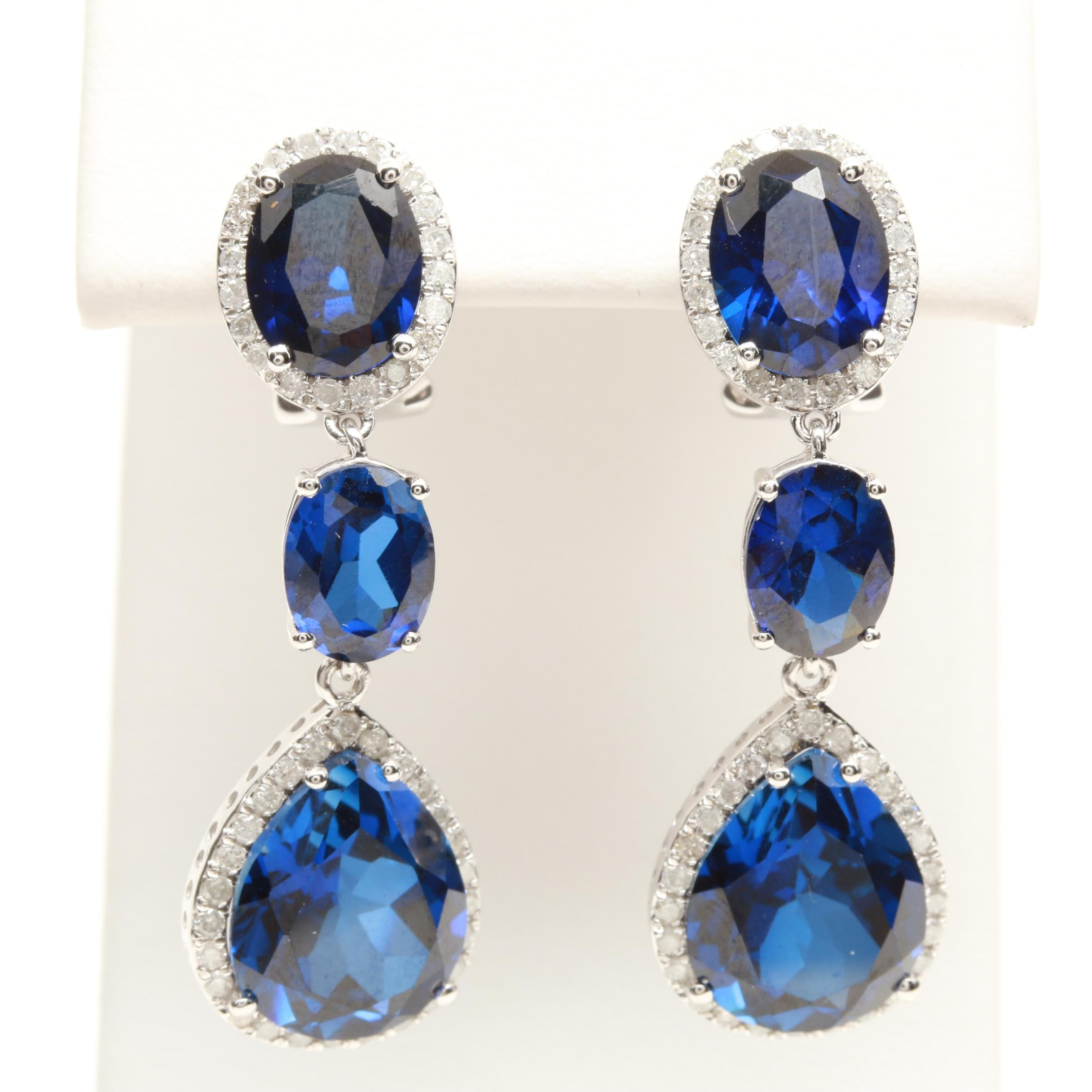 14K White Gold Synthetic Blue Sapphire and Diamond Dangle Earrings