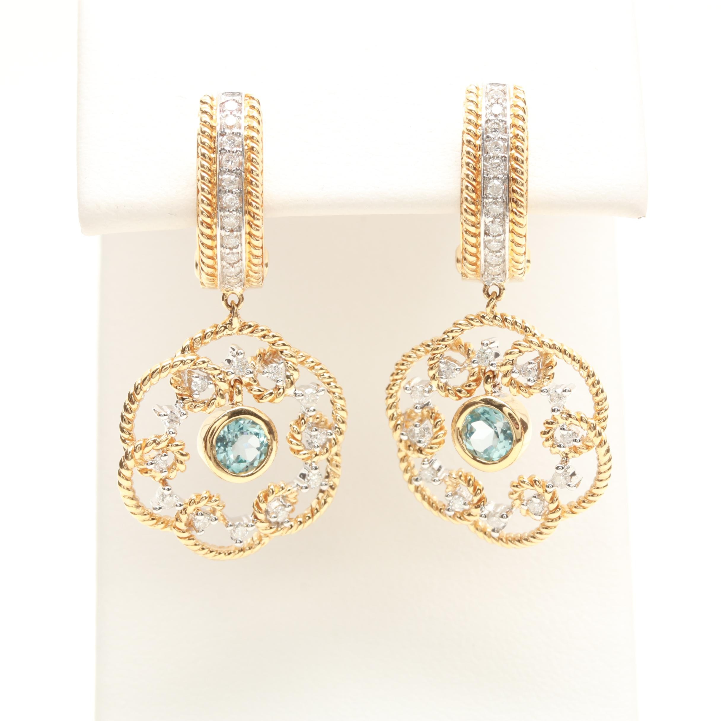 14K Yellow Gold Topaz and Diamond Earrings with White Gold Accents