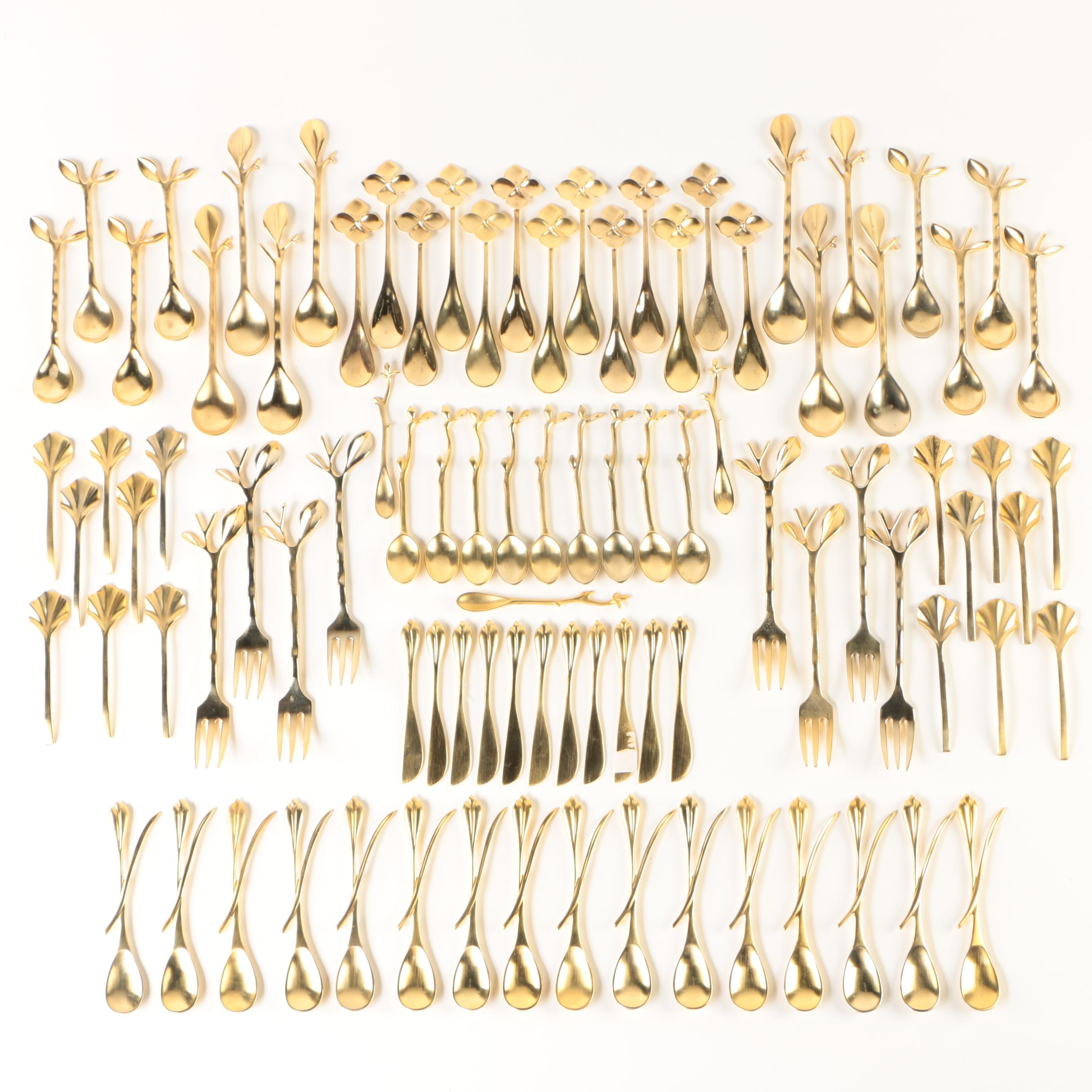 Blue Leaves French Nature-Inspired 24K Gold-Plated Brass Flatware