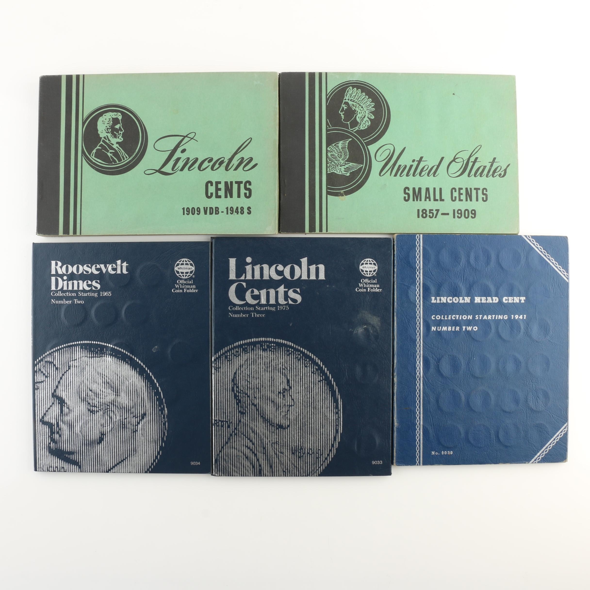 Group of 222 Various U.S. One Cent Coins and 37 Roosevelt Dimes in Coin Folders