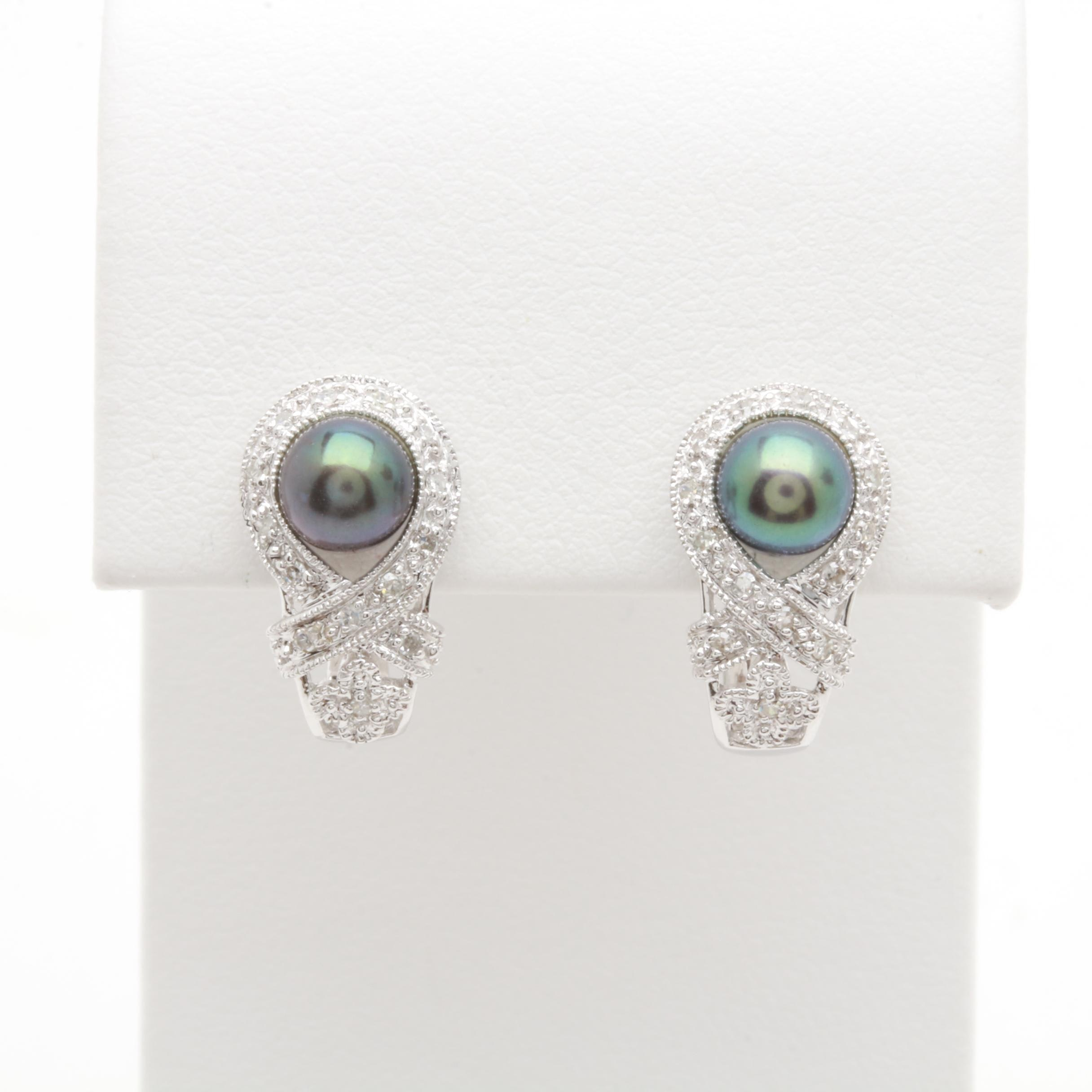 14K White Gold Cultured Pearl and Diamond Earrings