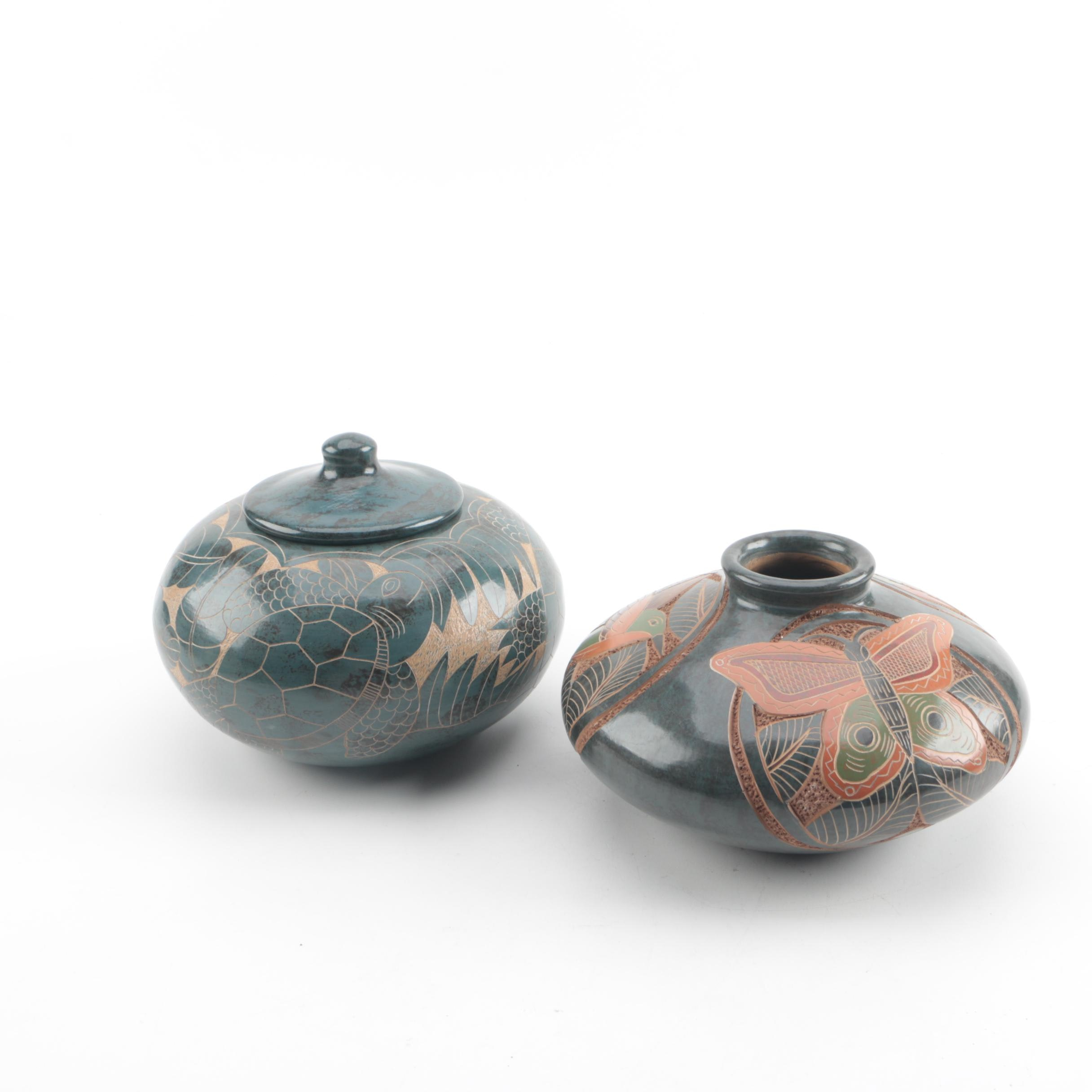 Central American Style Earthenware Vase and Lidded Vessel