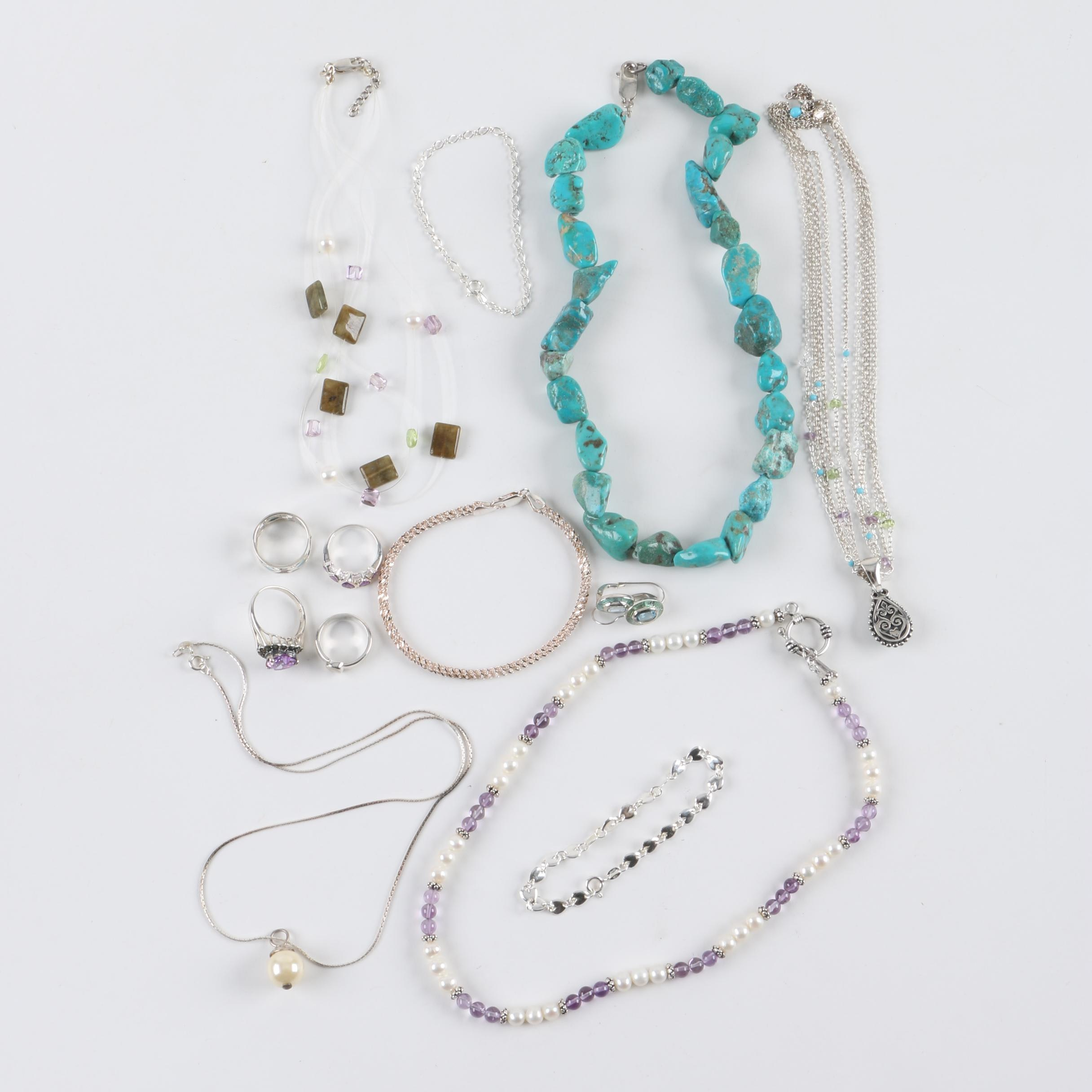 Sterling Silver Jewelry Collection Including Labradorite, Peridot, and Turquoise