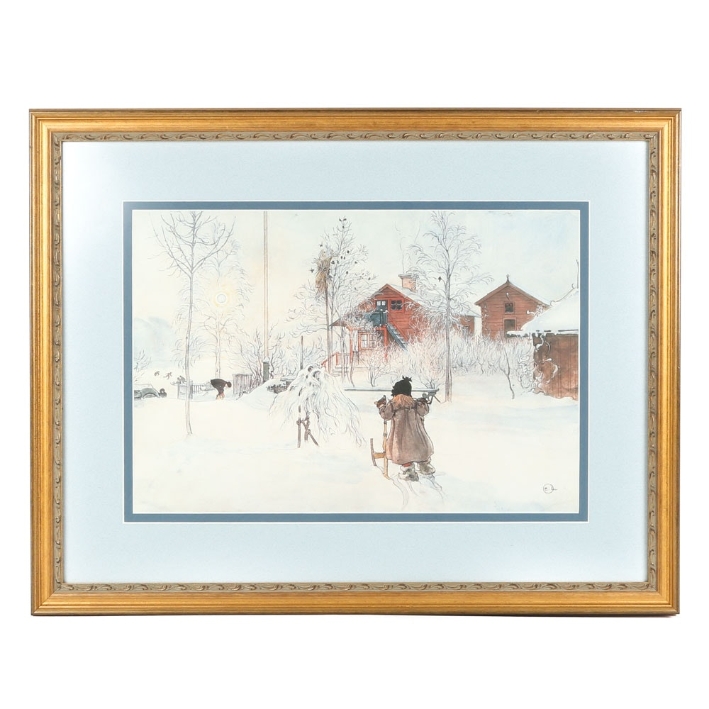 "After Carl Larsson Offset Lithograph ""The Yard and Wash-House"""