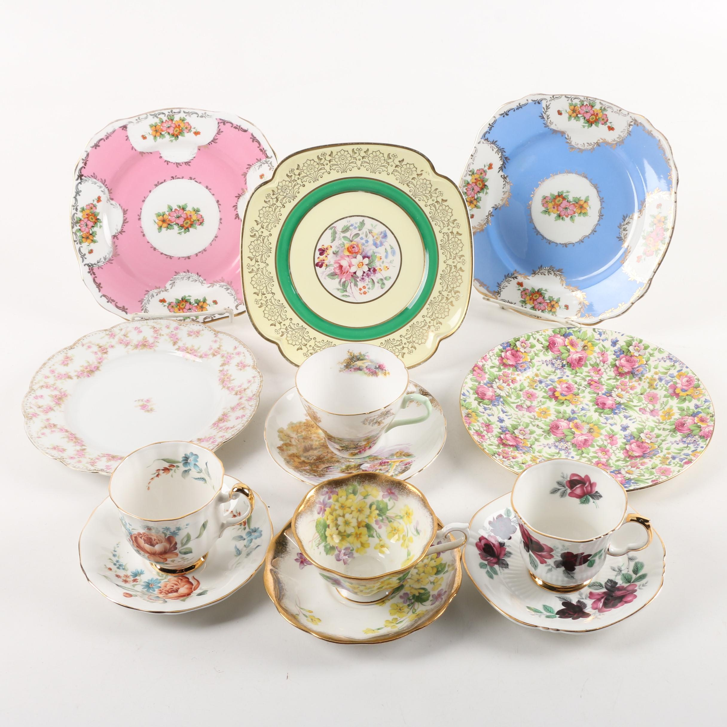 Vintage European Transfer Printed Bone China Teacups, Saucers, and Salad Plates