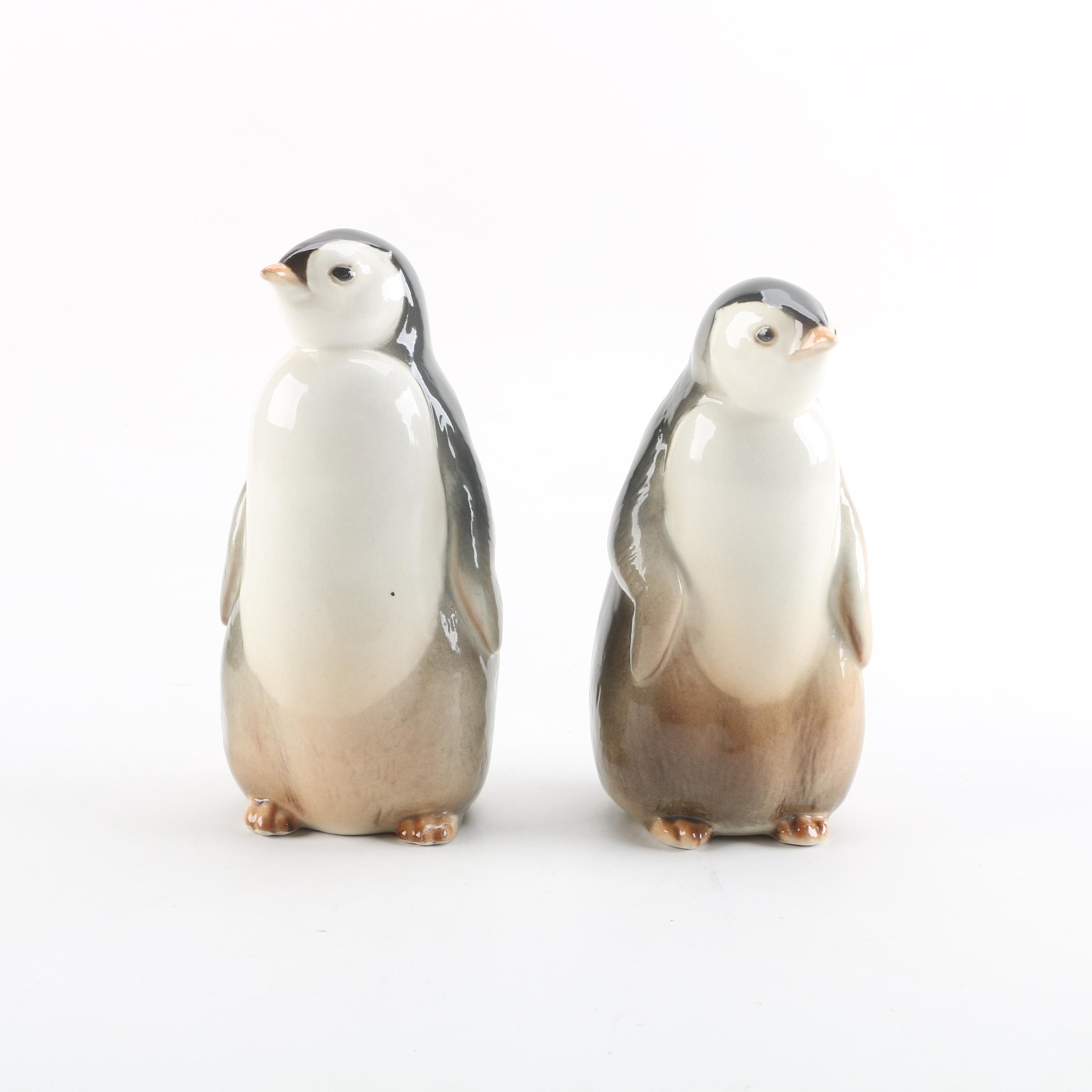 Vintage Lomonosov Russian Porcelain Penguin Figurines