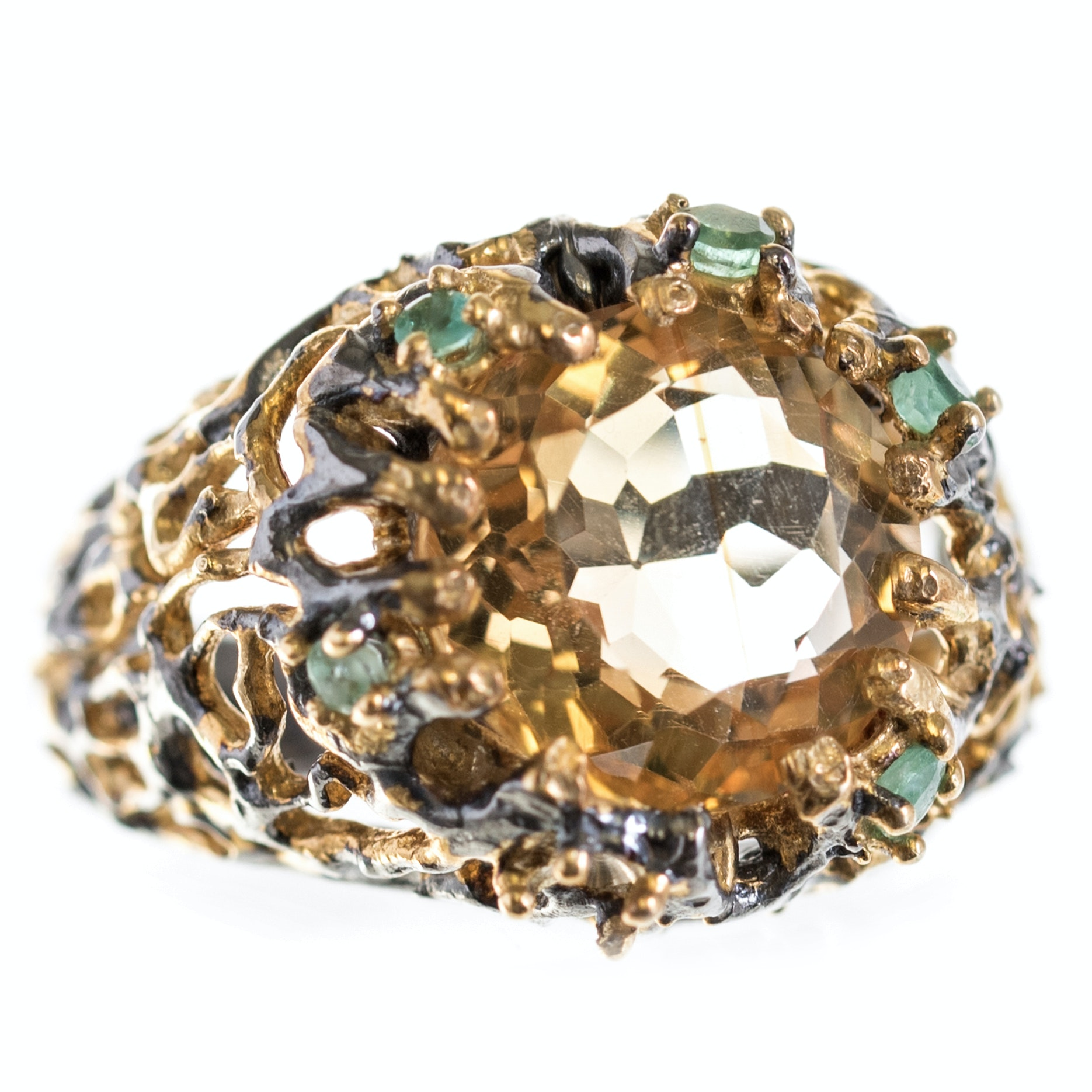 Sterling Silver Citrine and Emerald Ring with Gold Wash Accents