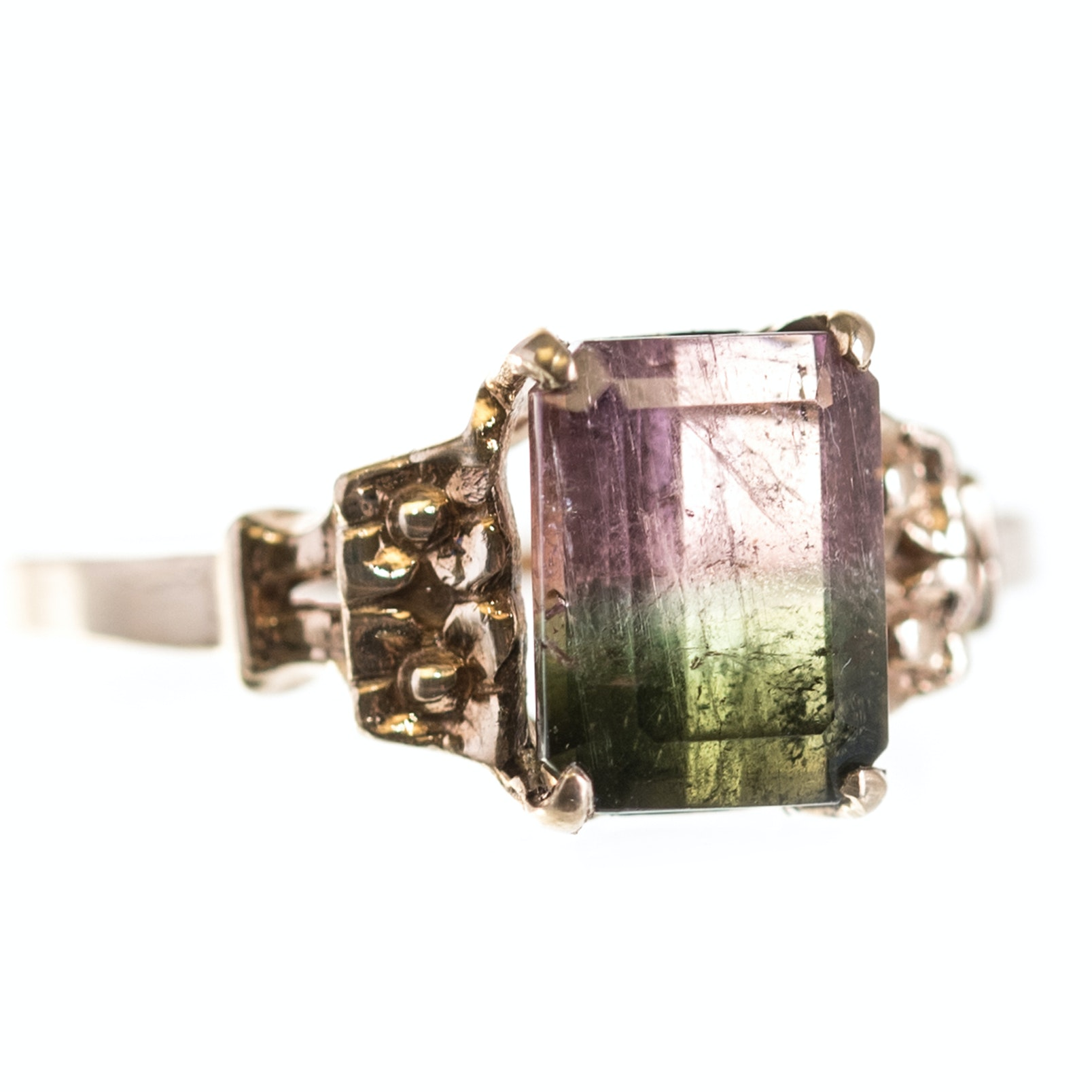 10K Yellow Gold Watermelon Tourmaline Ring