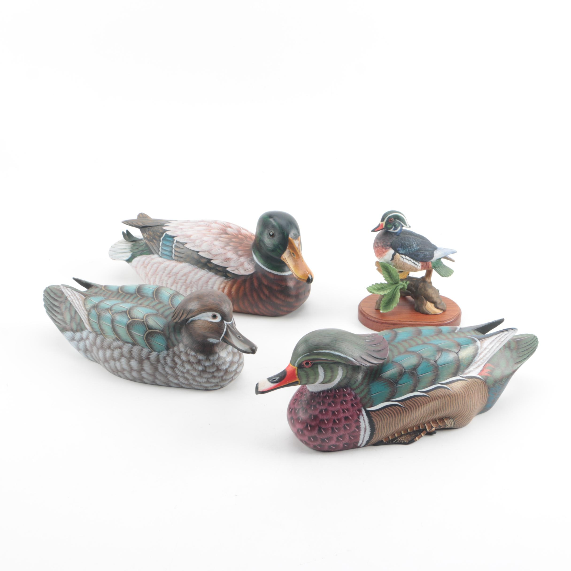 "Lenox Porcelain ""Wood Duck"" Figurine on Stand and Miniature Wood Duck Decoys"