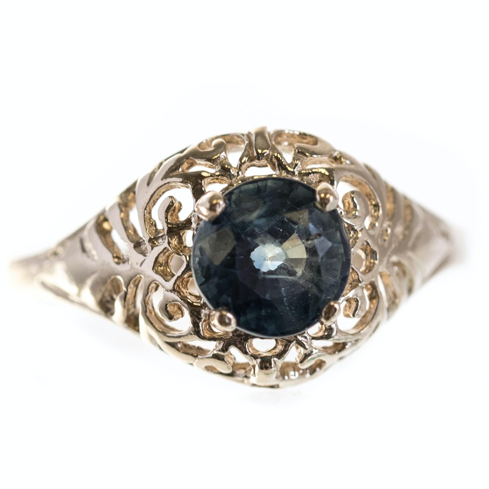 14K Yellow Gold Sapphire Openwork Ring