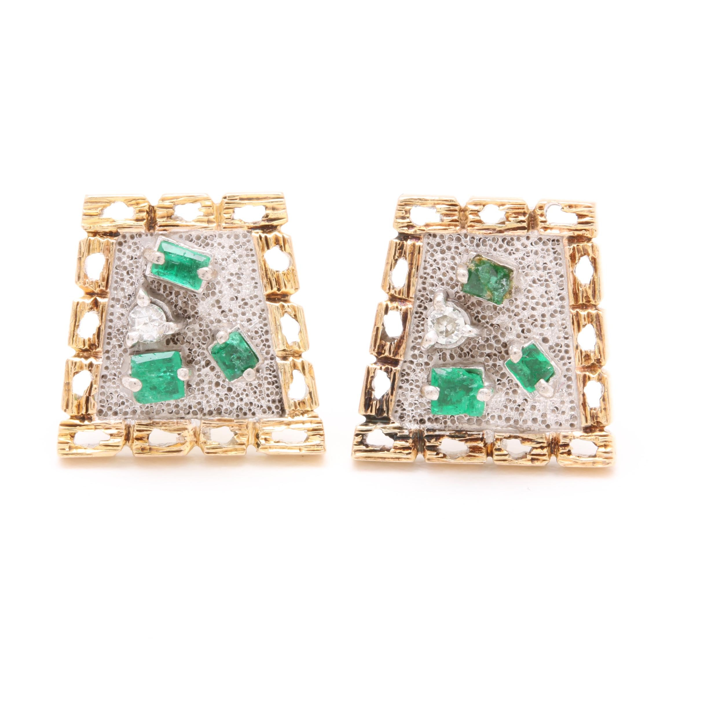 14K Yellow Gold Emerald and Diamond Accented Earrings with Sterling Silver
