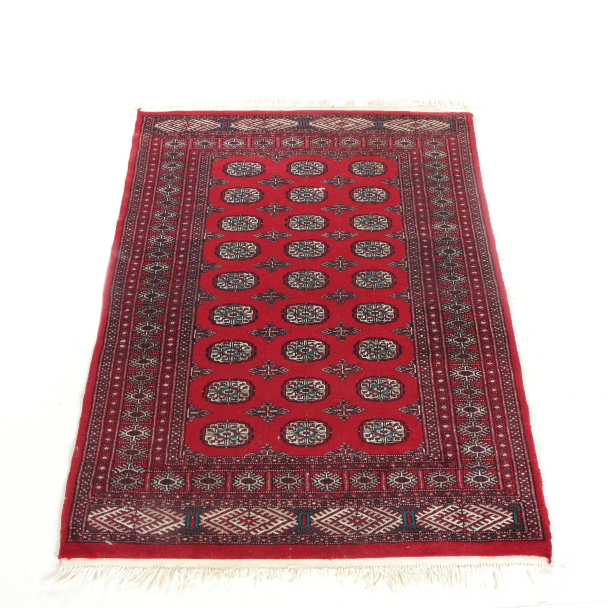 Finely Hand-Knotted Pakistani Bokhara Wool Area Rug