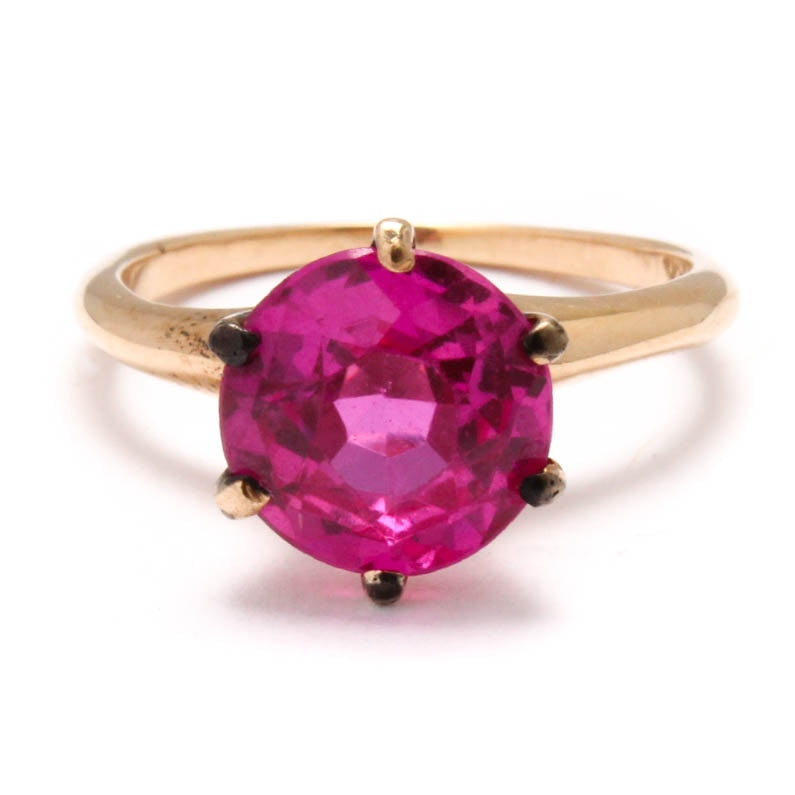 14K Yellow Gold Synthetic Spinel Ring