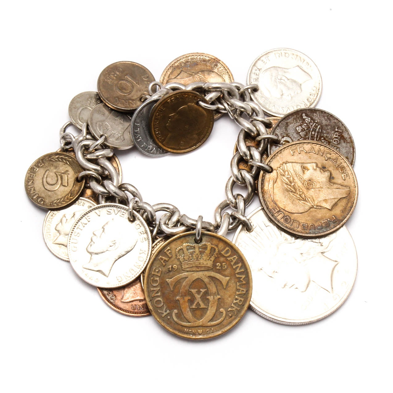 Sterling Silver Bracelet with Coin Charms
