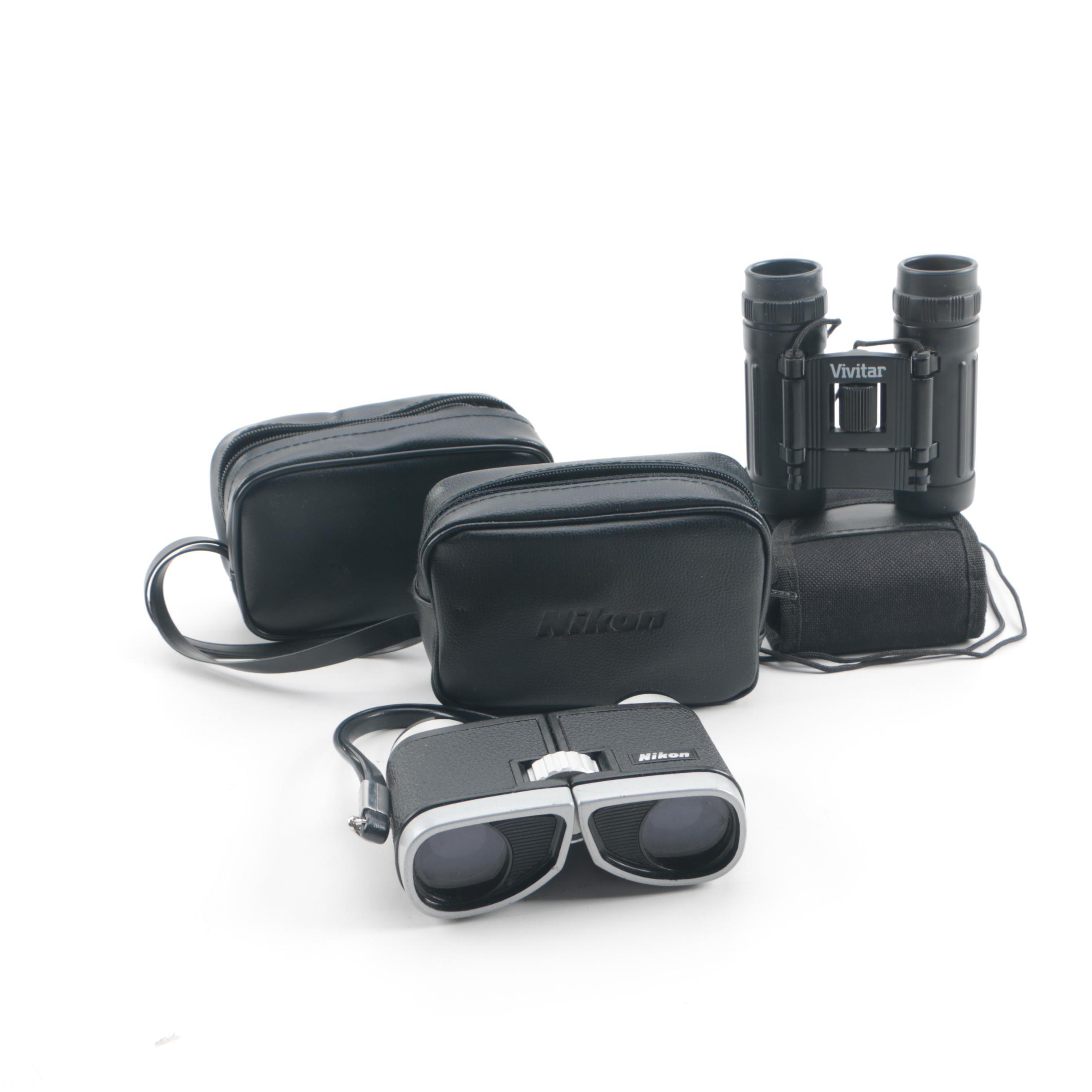 Vivitar, Nikon and Western Field Binoculars With Cases