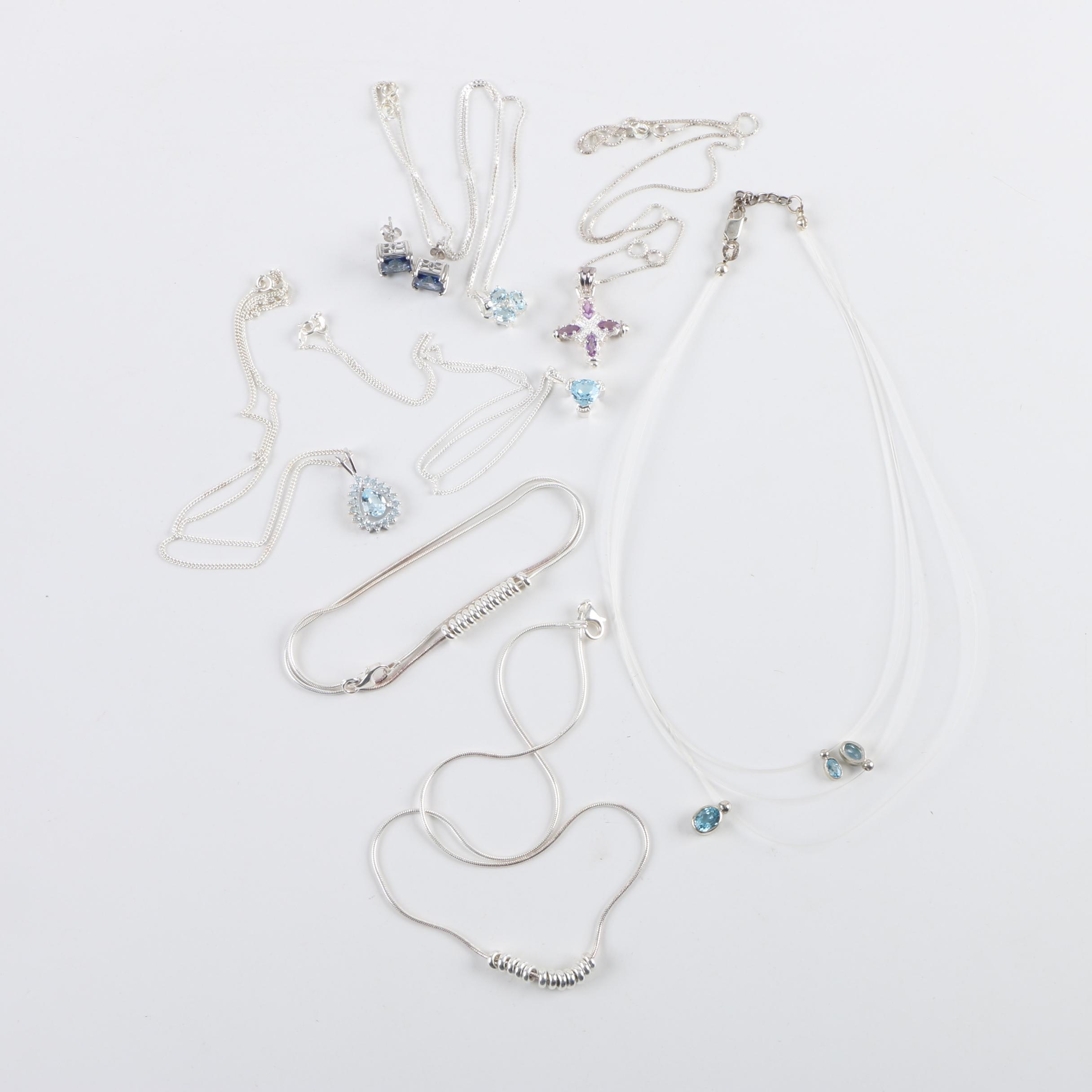 Sterling Silver Necklaces and Earrings Including Synthetic Sapphire and Diamond