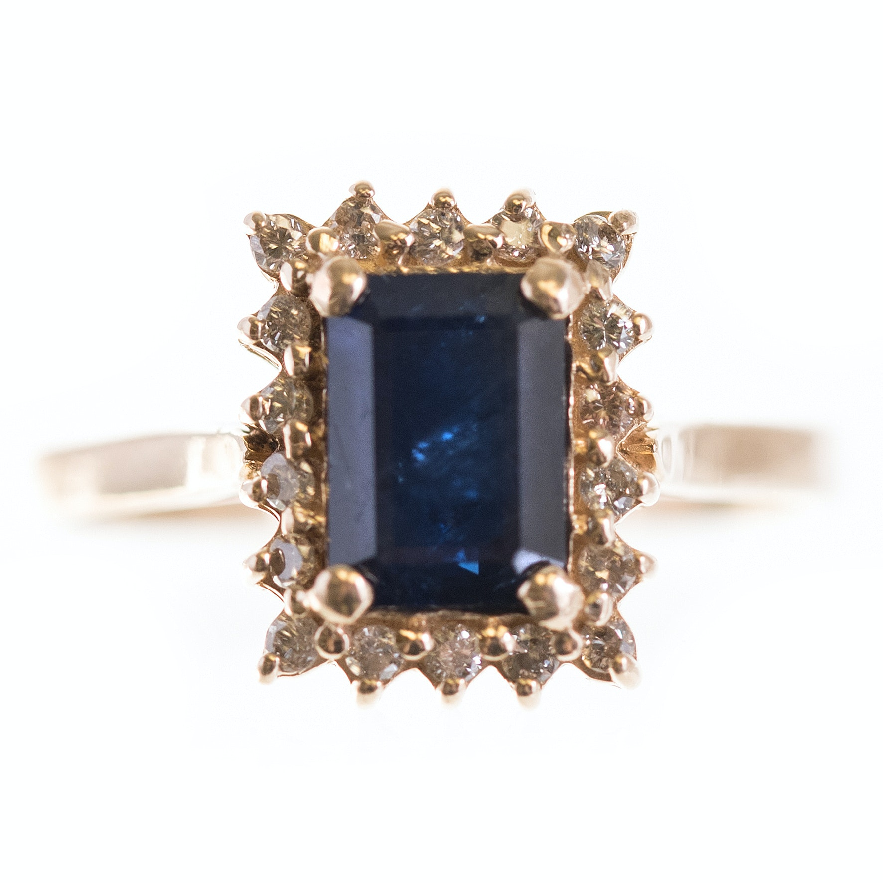 14K Yellow Gold 1.40 CT Sapphire and Diamond Ring