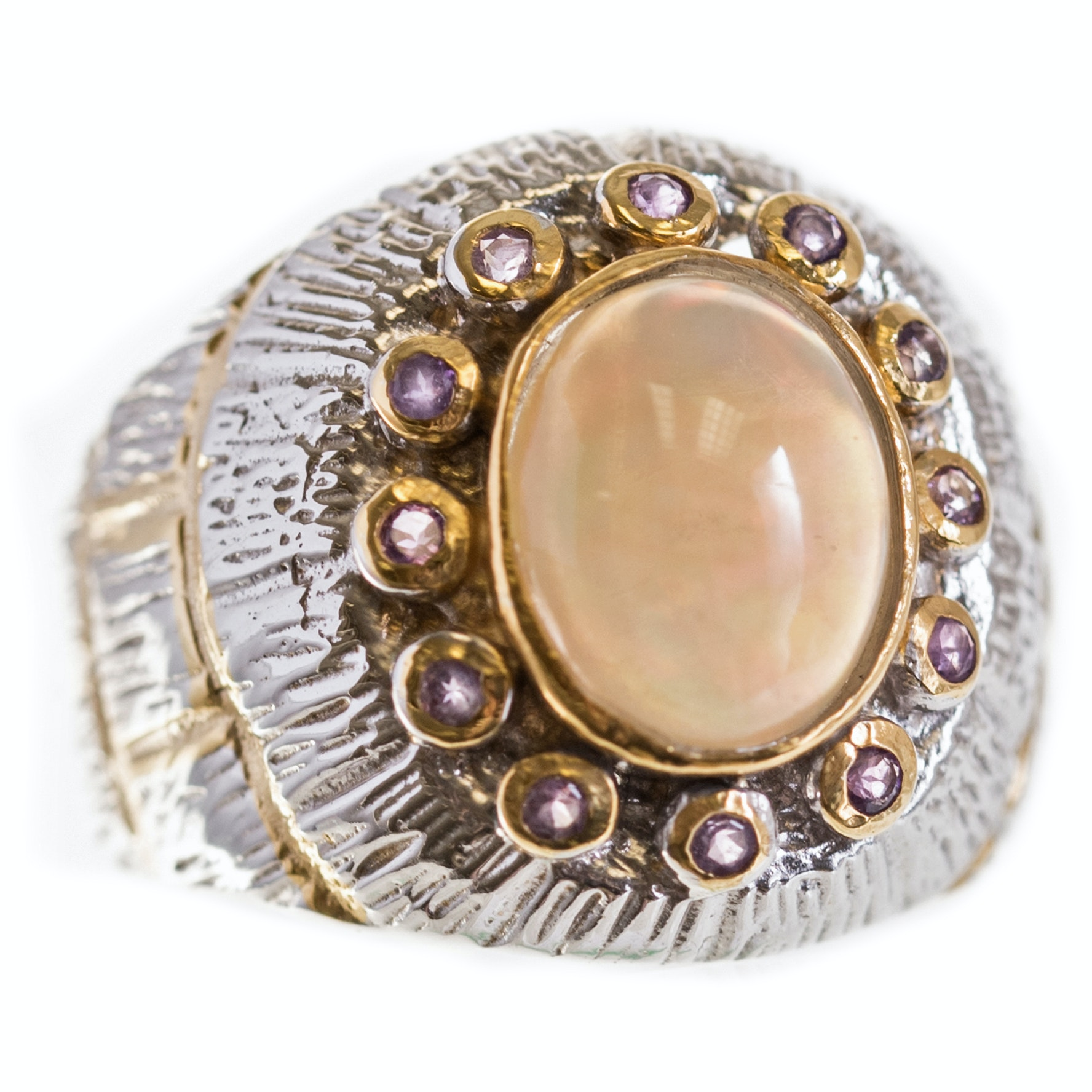 Sterling Silver Textured Opal and Amethyst Ring with Gold Wash Accents