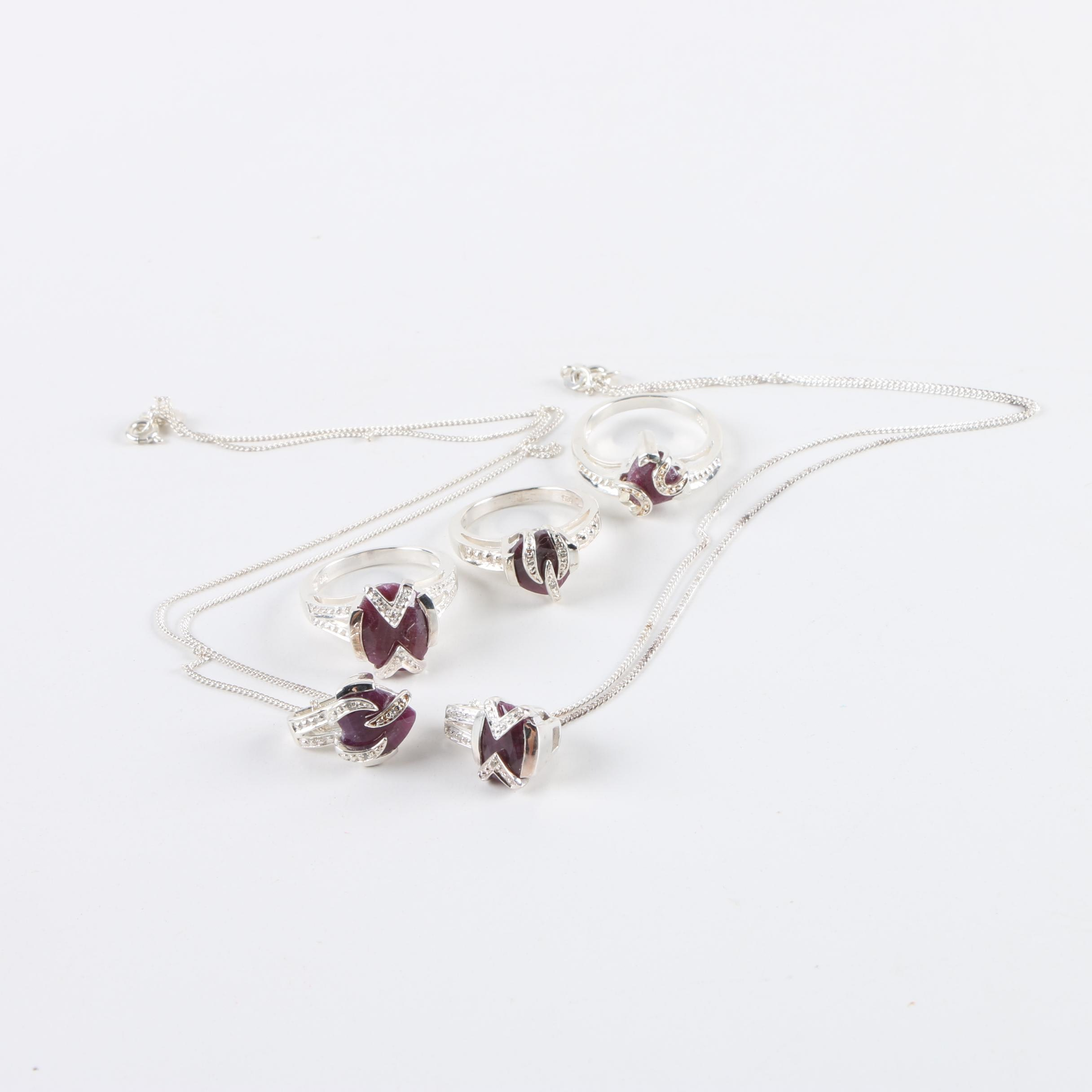 Sterling Silver Ruby and Diamond Rings and Pendant Necklaces