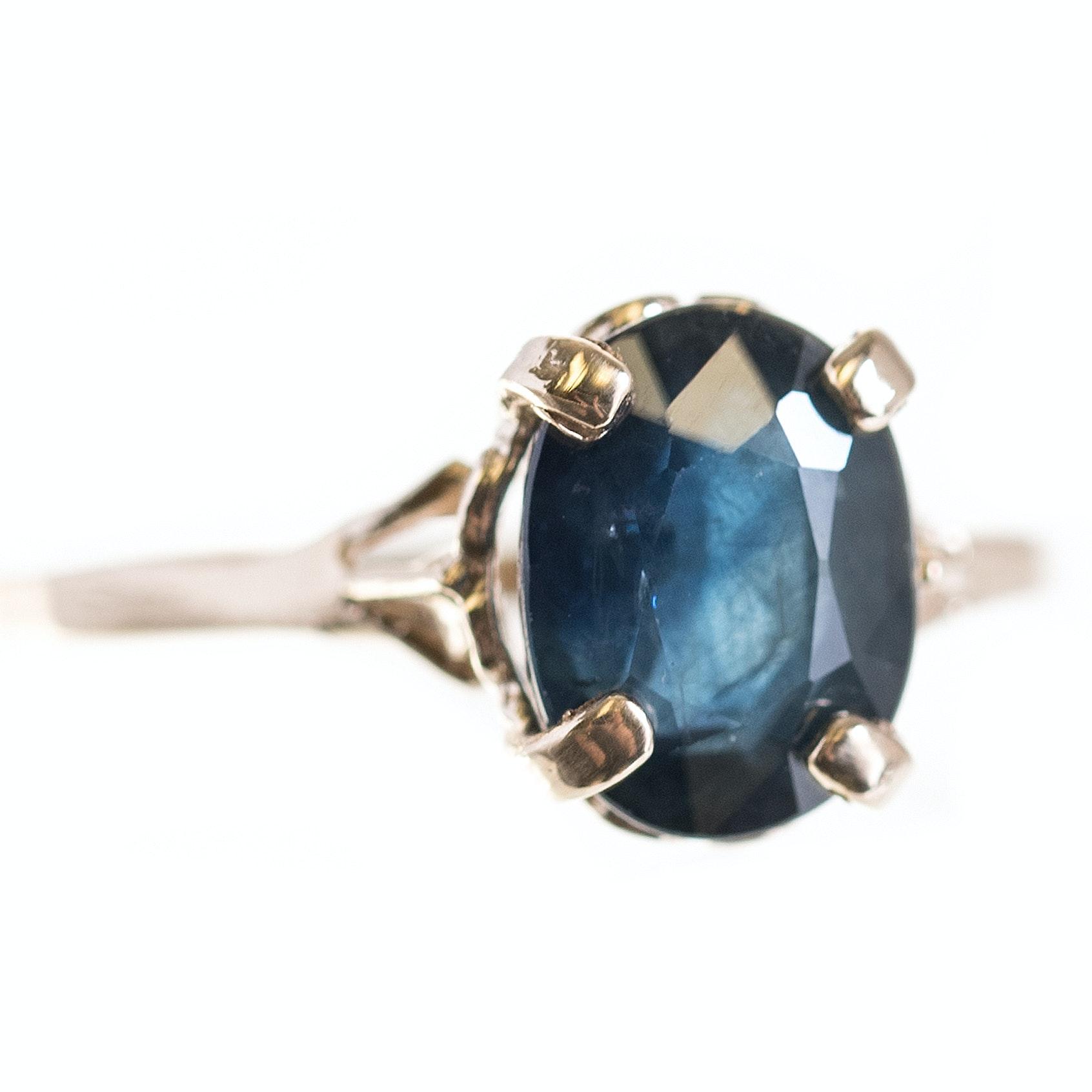 14K Yellow Gold 2.89 Carat Sapphire Ring