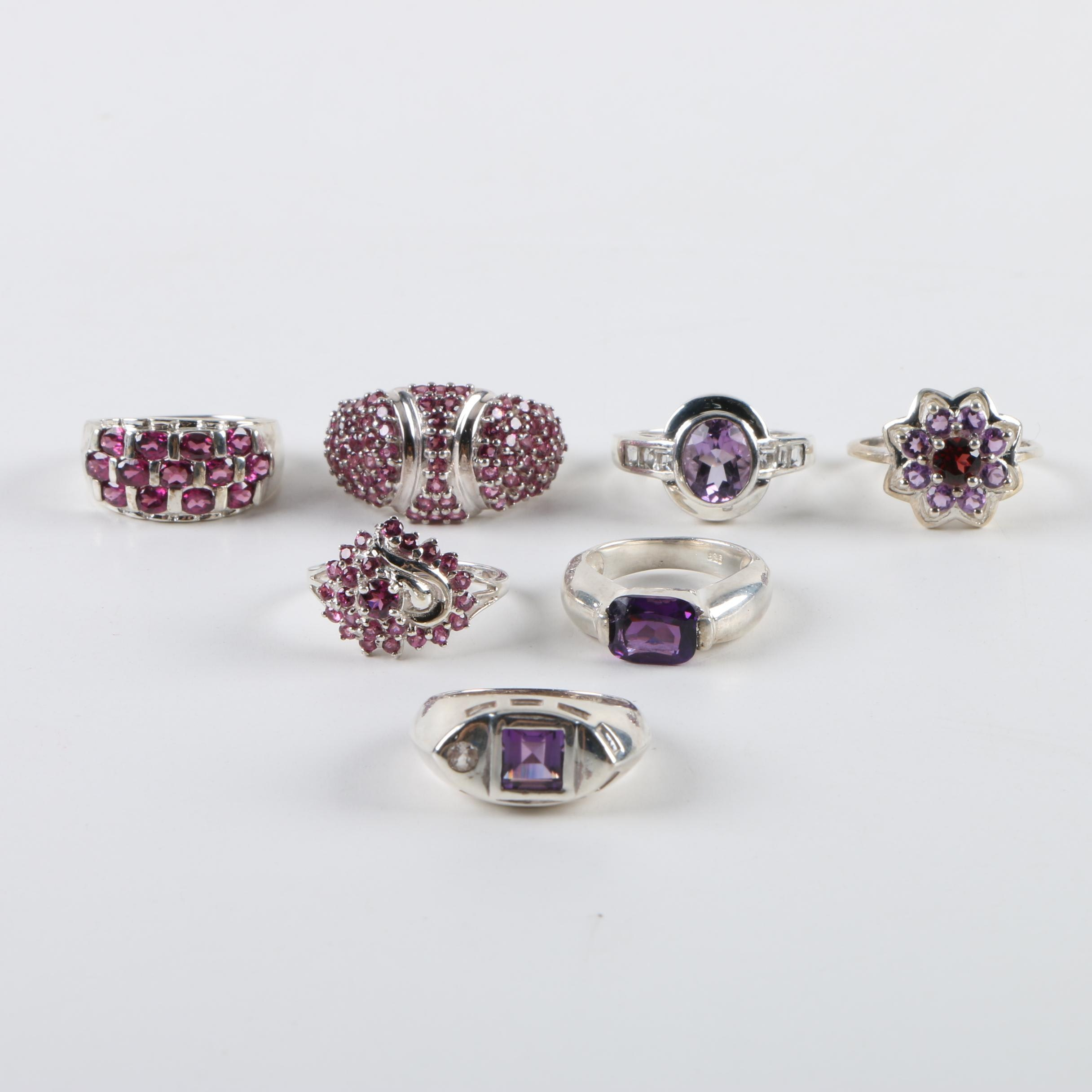 Sterling Silver Ring Assortment Including Amethyst and Rhodolite Garnet