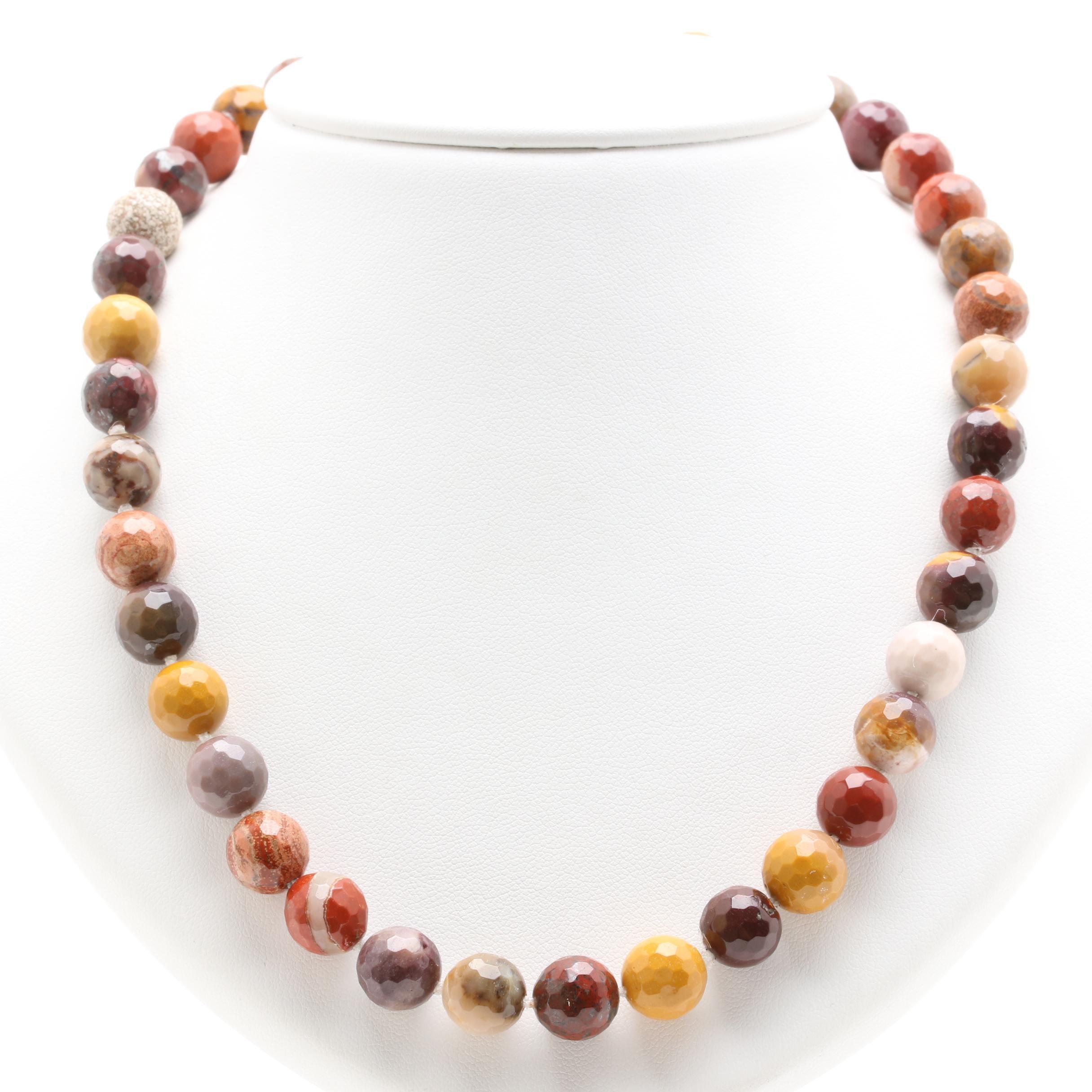 14K Yellow Gold Jasper Beaded Necklace