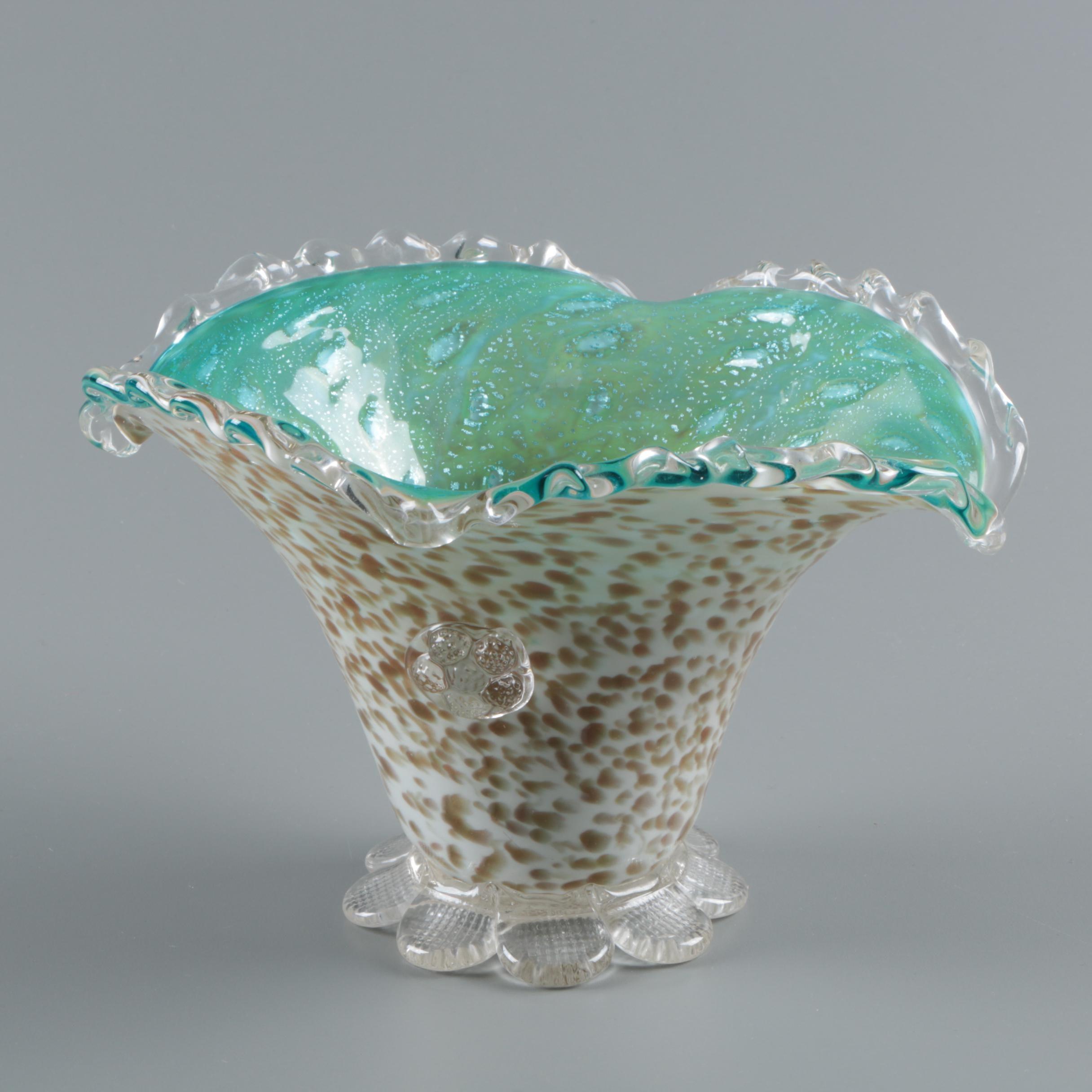 Vintage Murano Style Hand-Blown Aventurine Art Glass Vase