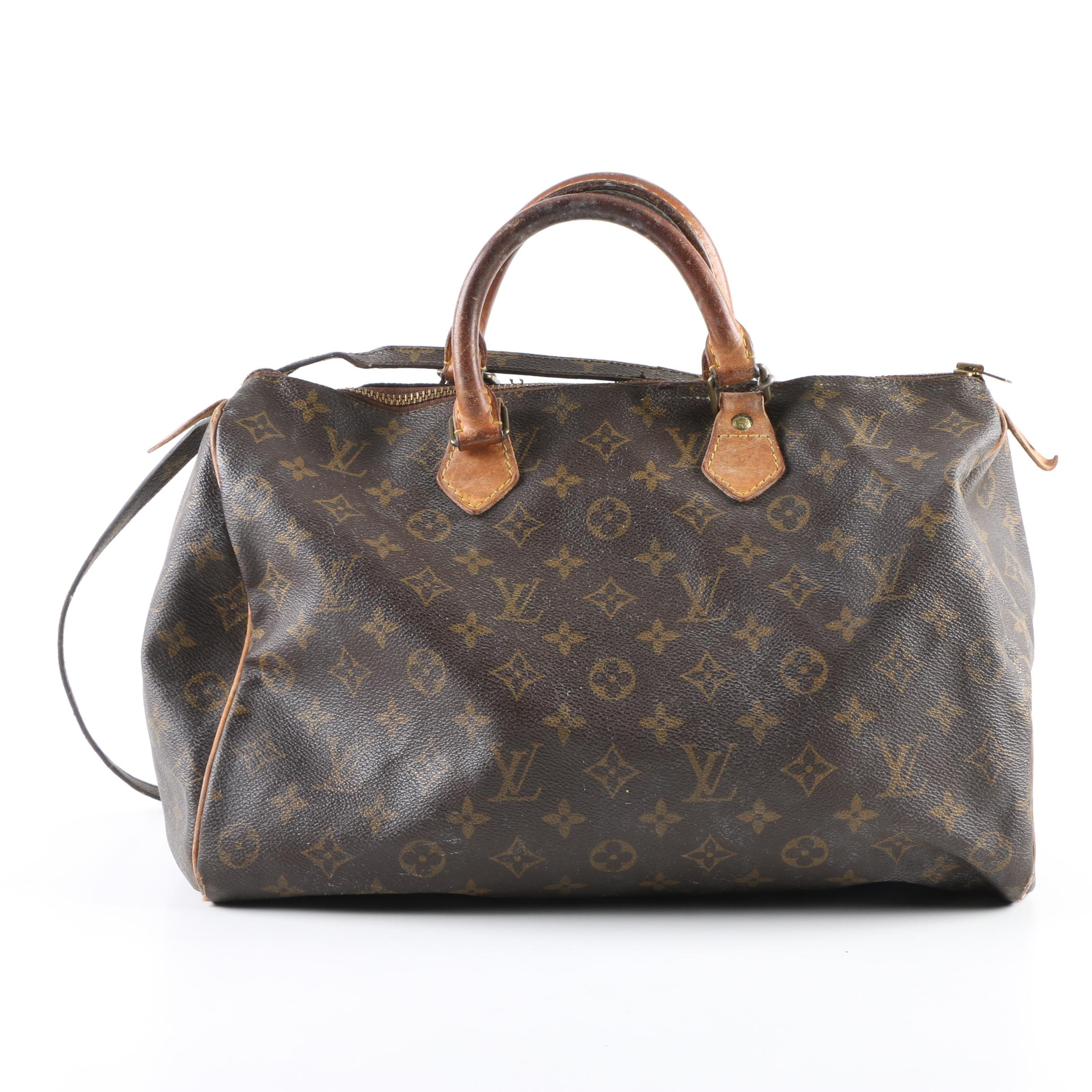 1980s Vintage Louis Vuitton Speedy Monogram Coated and Leather Canvas Duffel