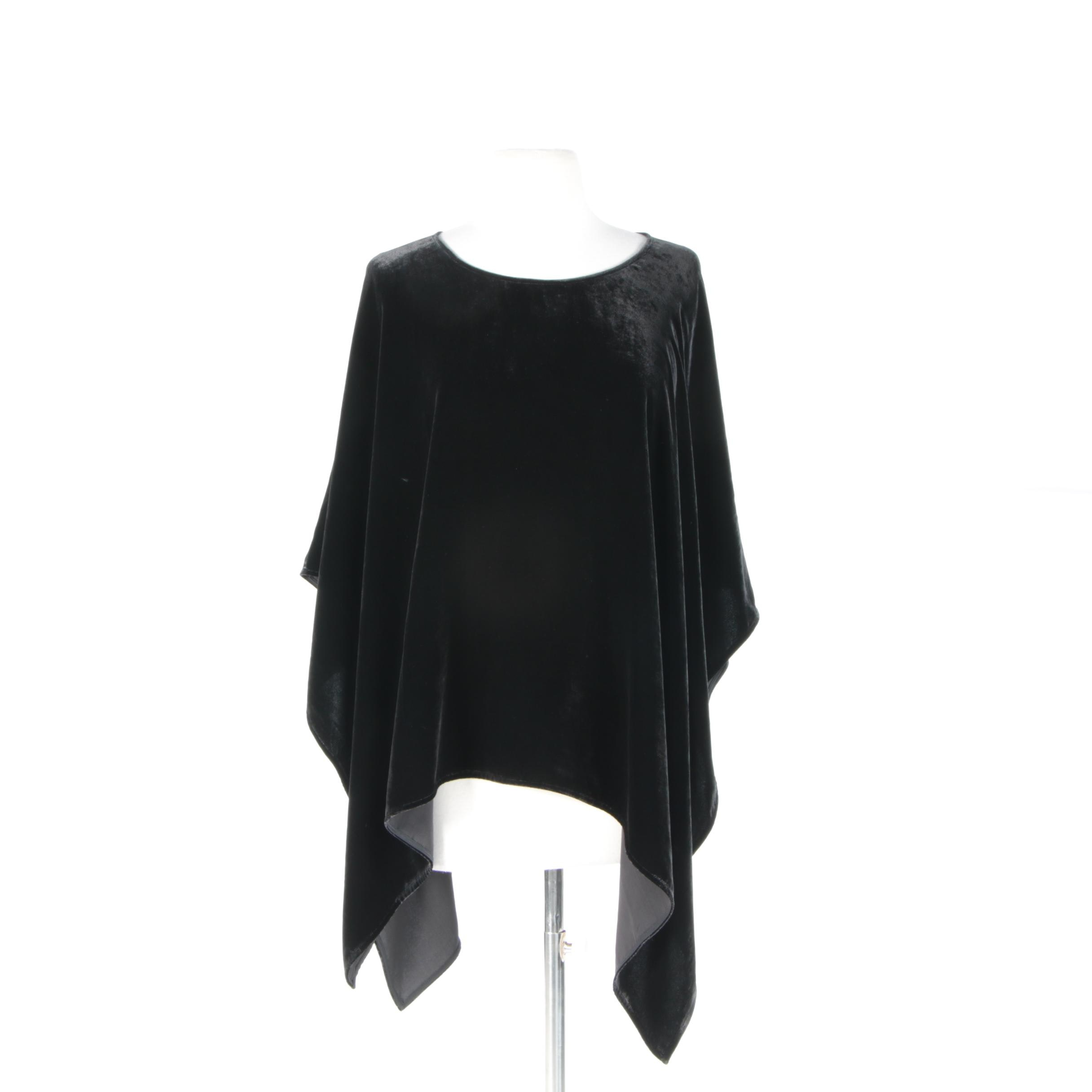 Women's Eileen Fisher Black Velvet Poncho