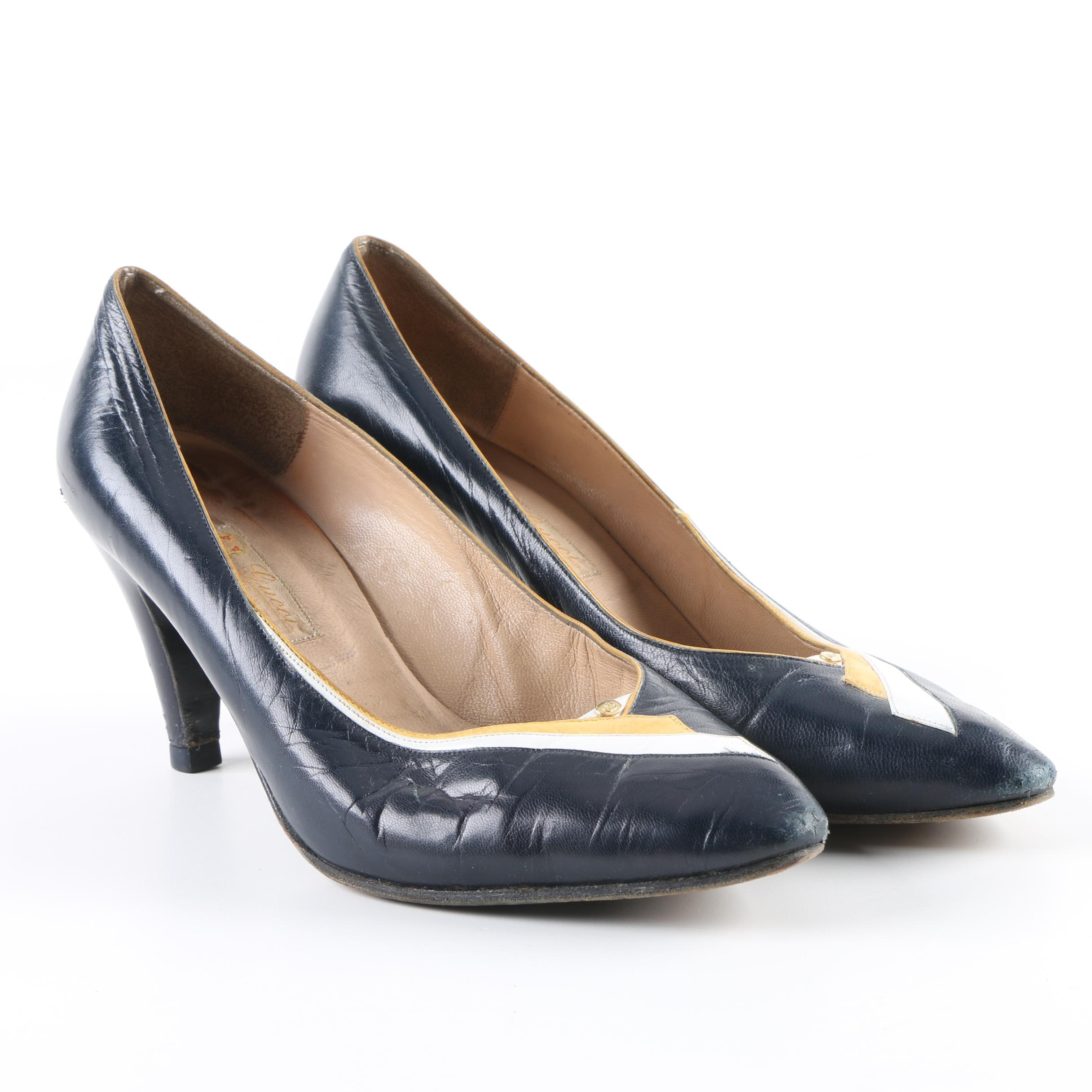 Vintage Gucci Navy Blue Leather Pumps with Original Box