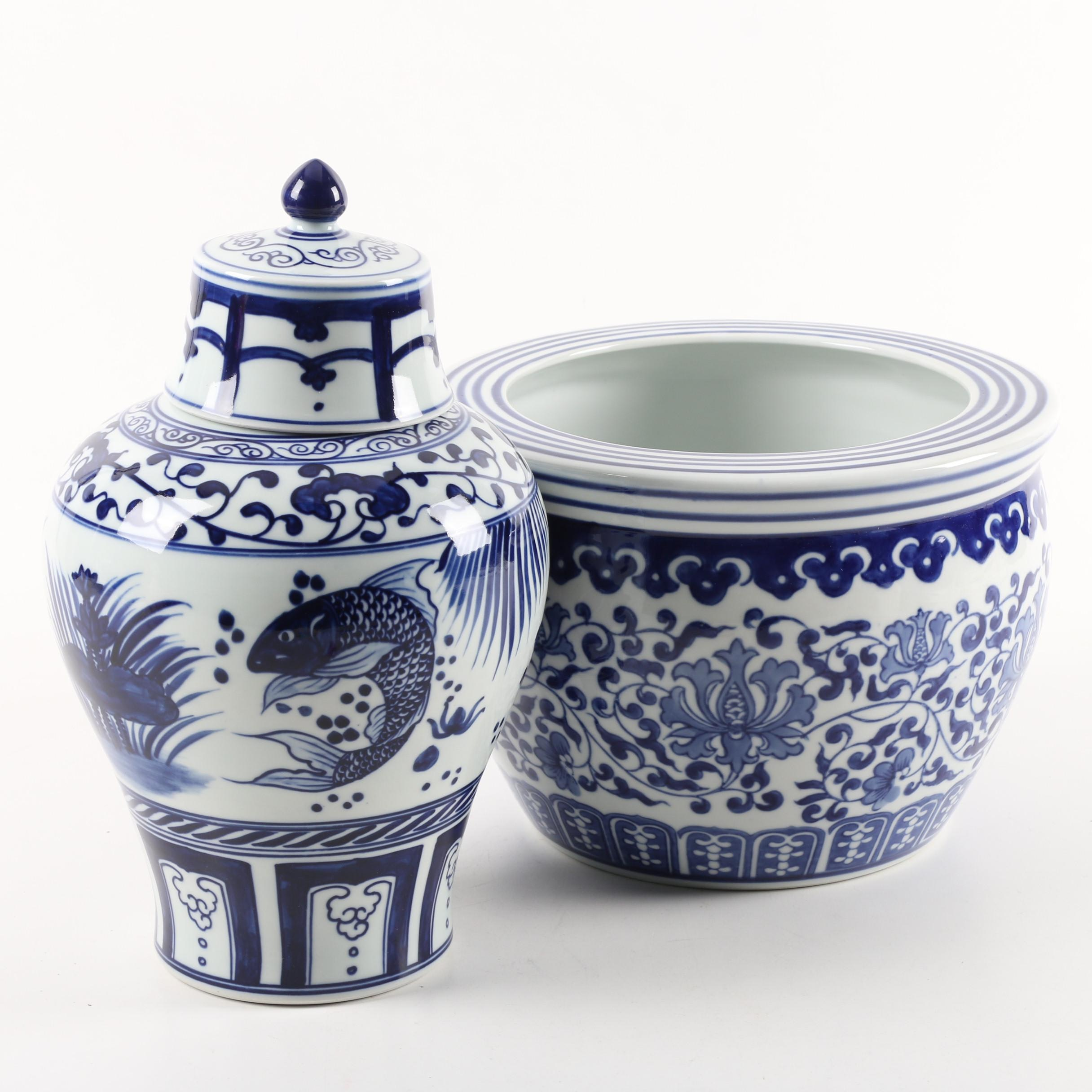 Williams-Sonoma Blue and White Fish Bowl Planter and Chinoiserie Urn