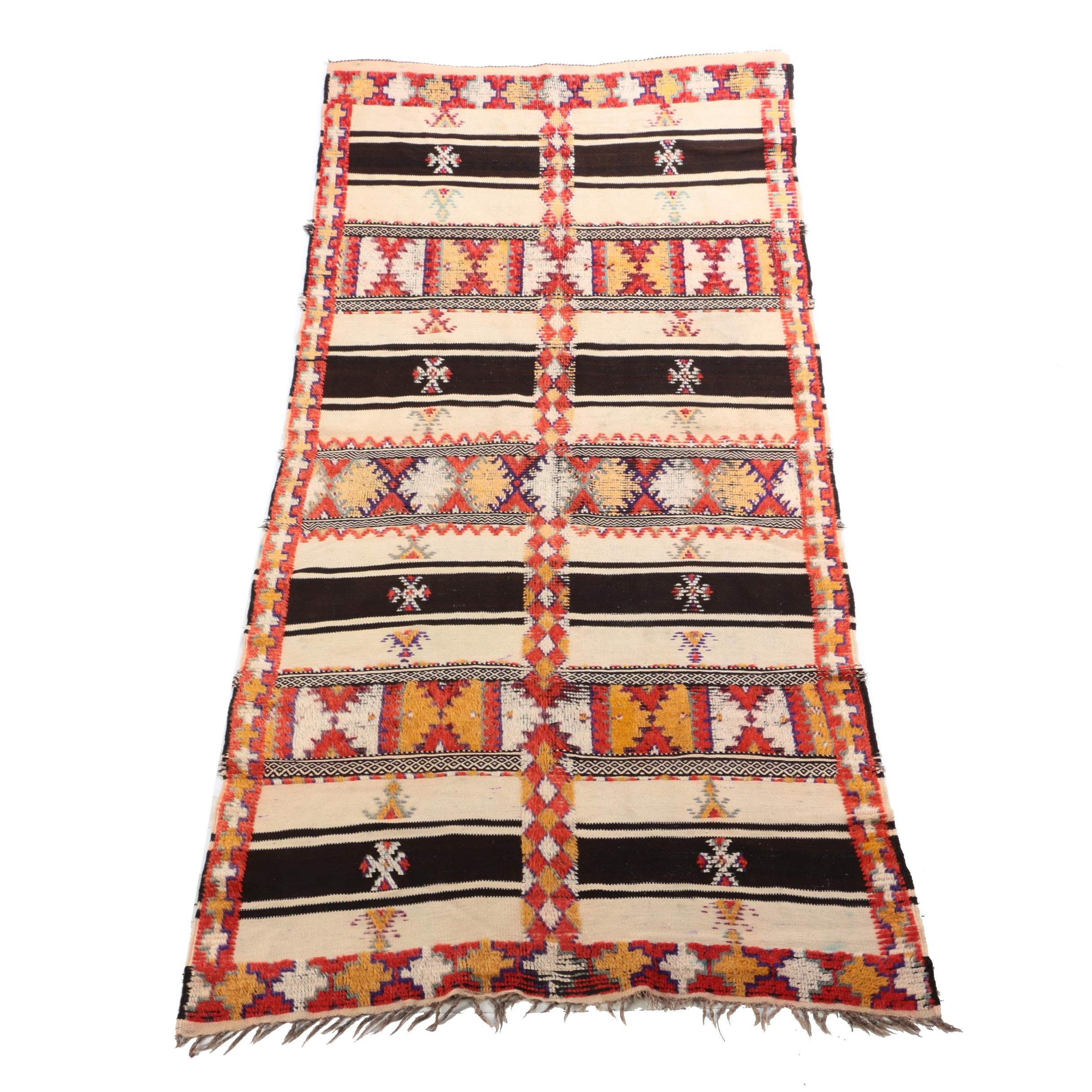 Handwoven and Hand-Knotted Moroccan Berber Wool Long Rug