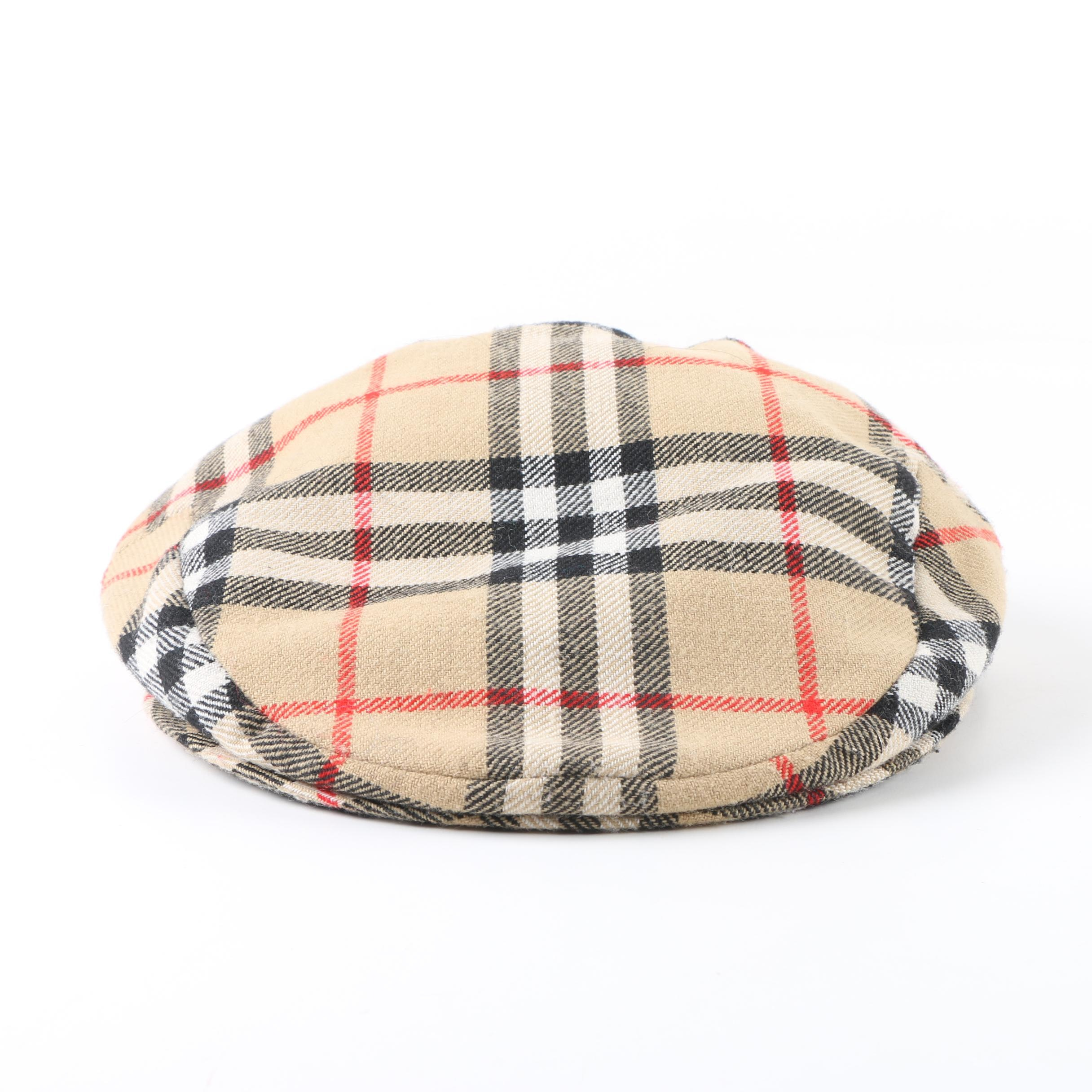 Men's Burberry Nova Check Plaid Wool Newsboy Cap