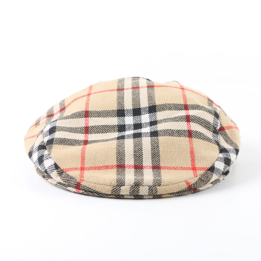 Men s Burberry Nova Check Plaid Wool Newsboy Cap   EBTH 5189a99c076