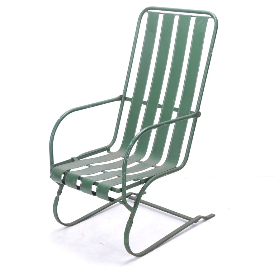 Vintage Green Metal Outdoor Rocking Chair Ebth